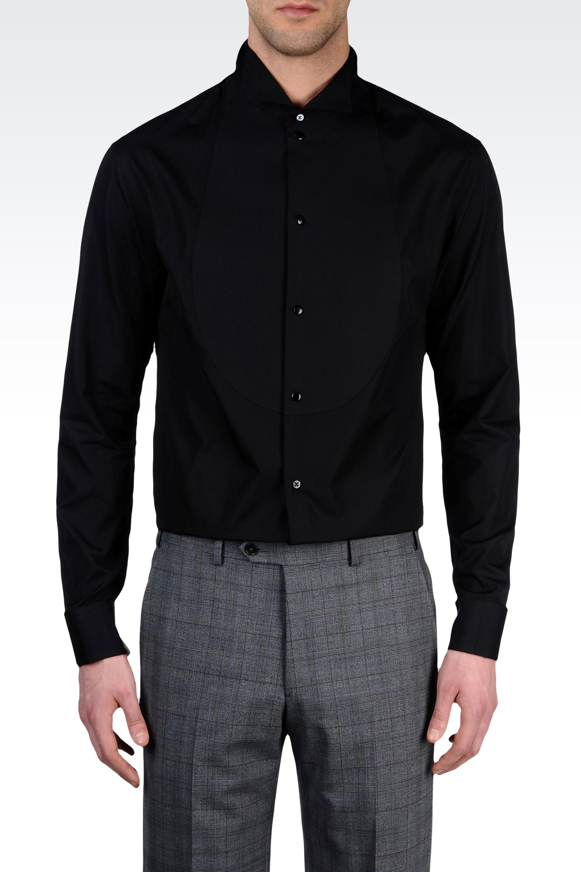 Armani Dress Shirt with Butterfly Collar in Black for Men | Lyst