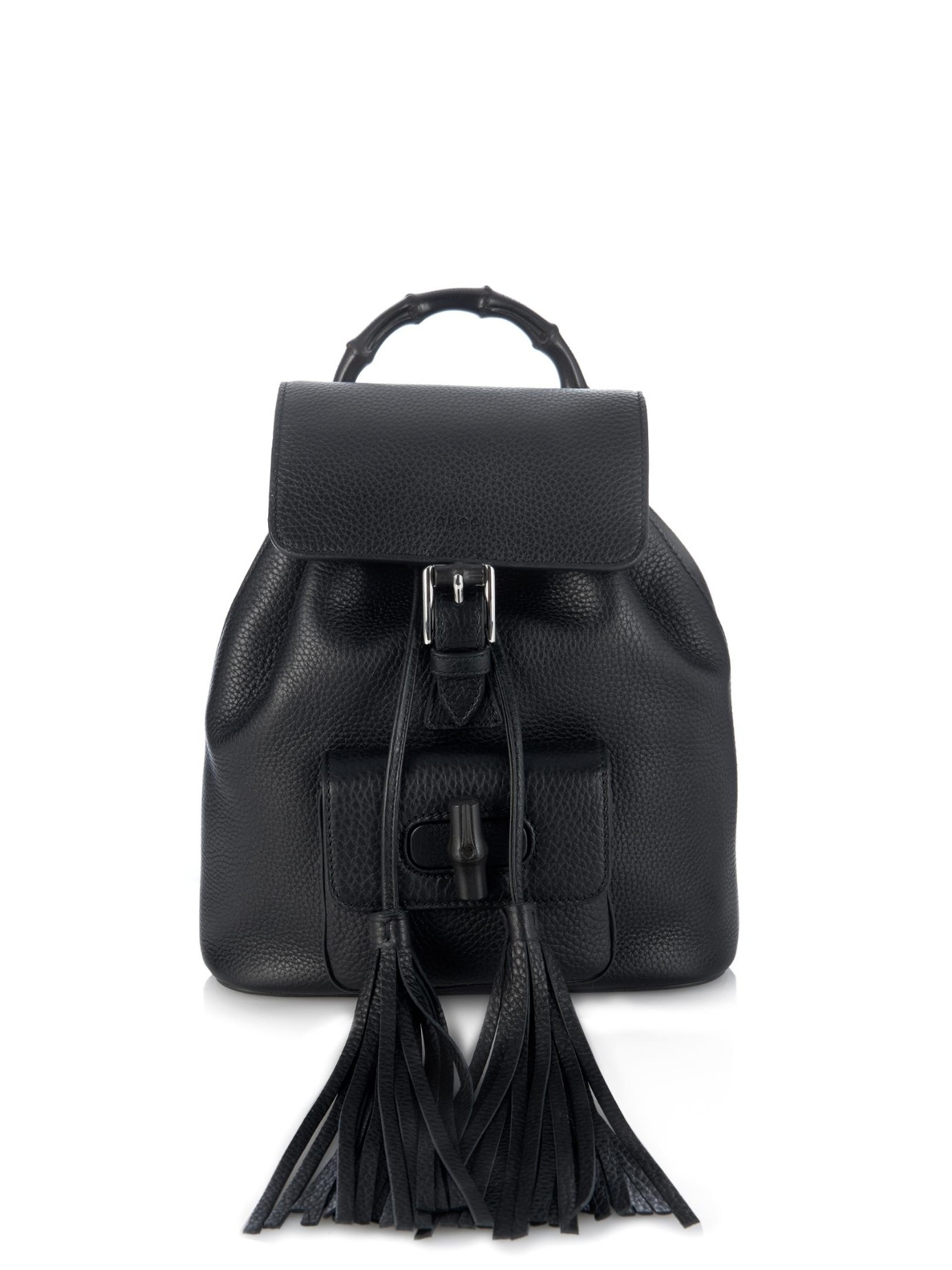 Lyst - Gucci Bamboo Mini Leather Backpack in Black 1795f6e6bb