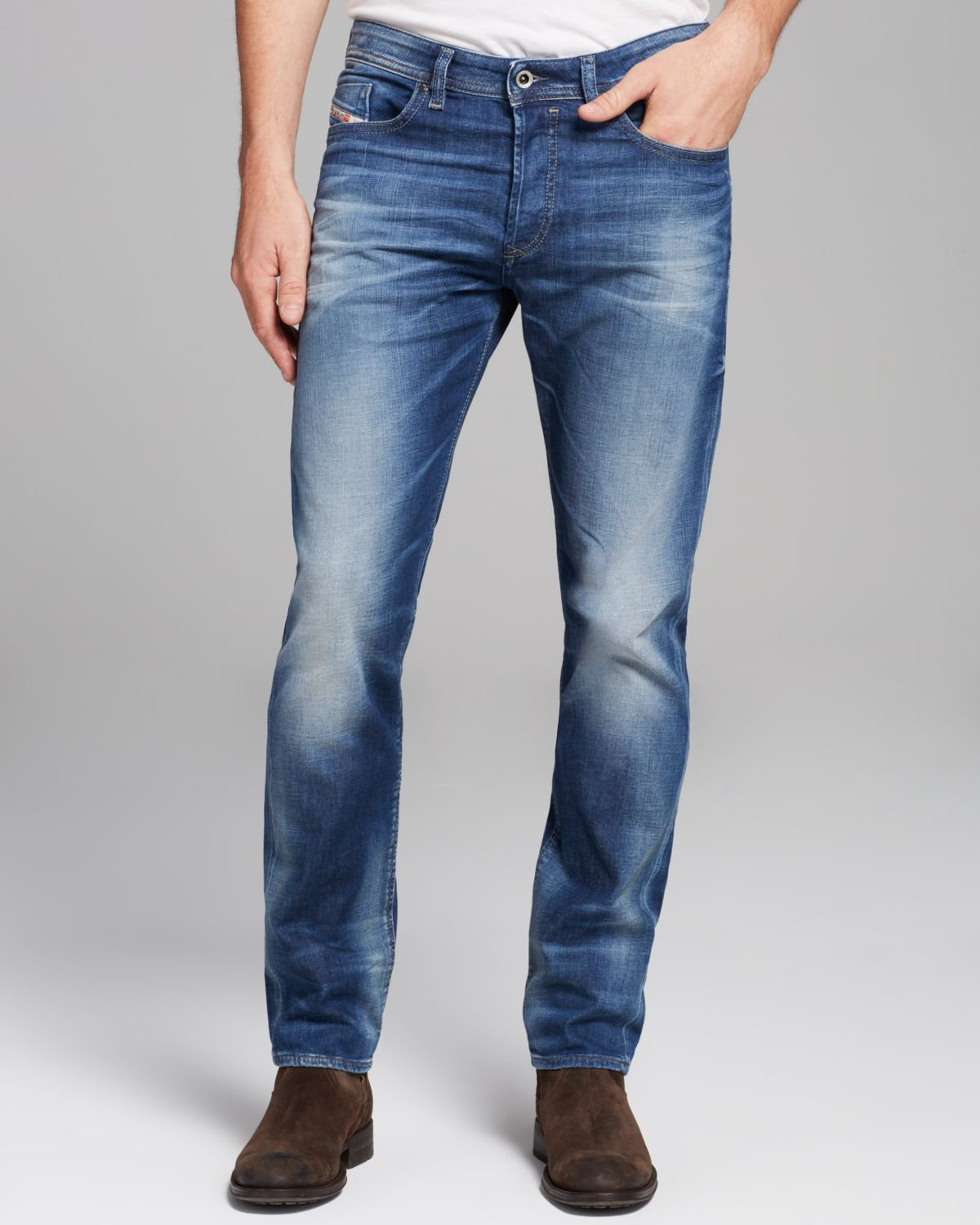 diesel buster new tapered fit in denim in blue for men