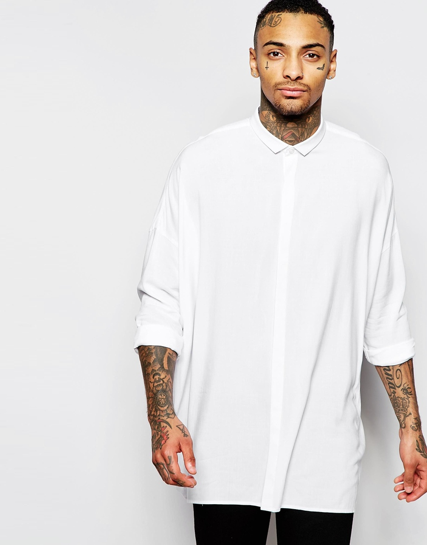 Asos Oversized Shirt With Dropped Shoulder In White In