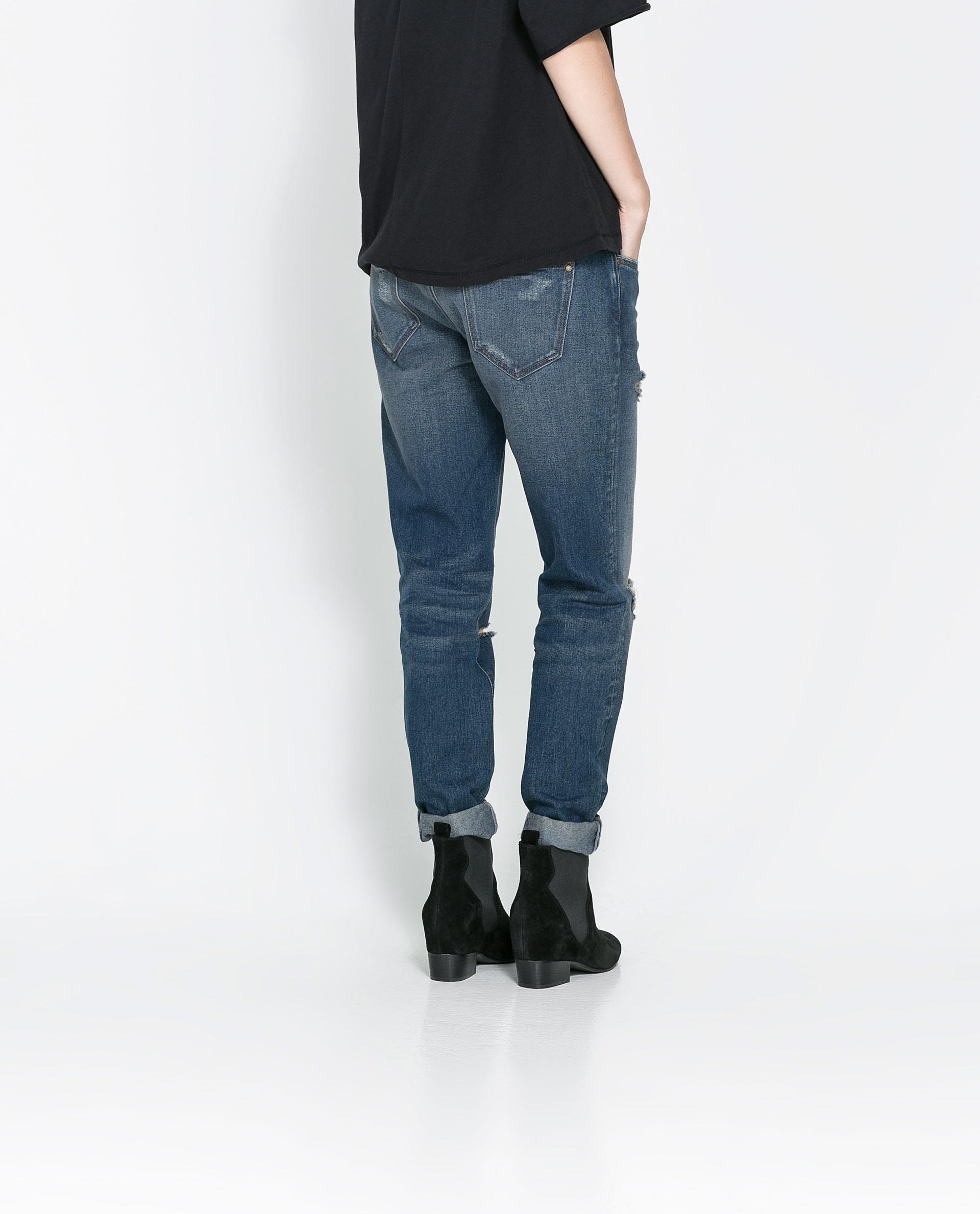 zara ripped boyfriend jeans in blue lyst. Black Bedroom Furniture Sets. Home Design Ideas
