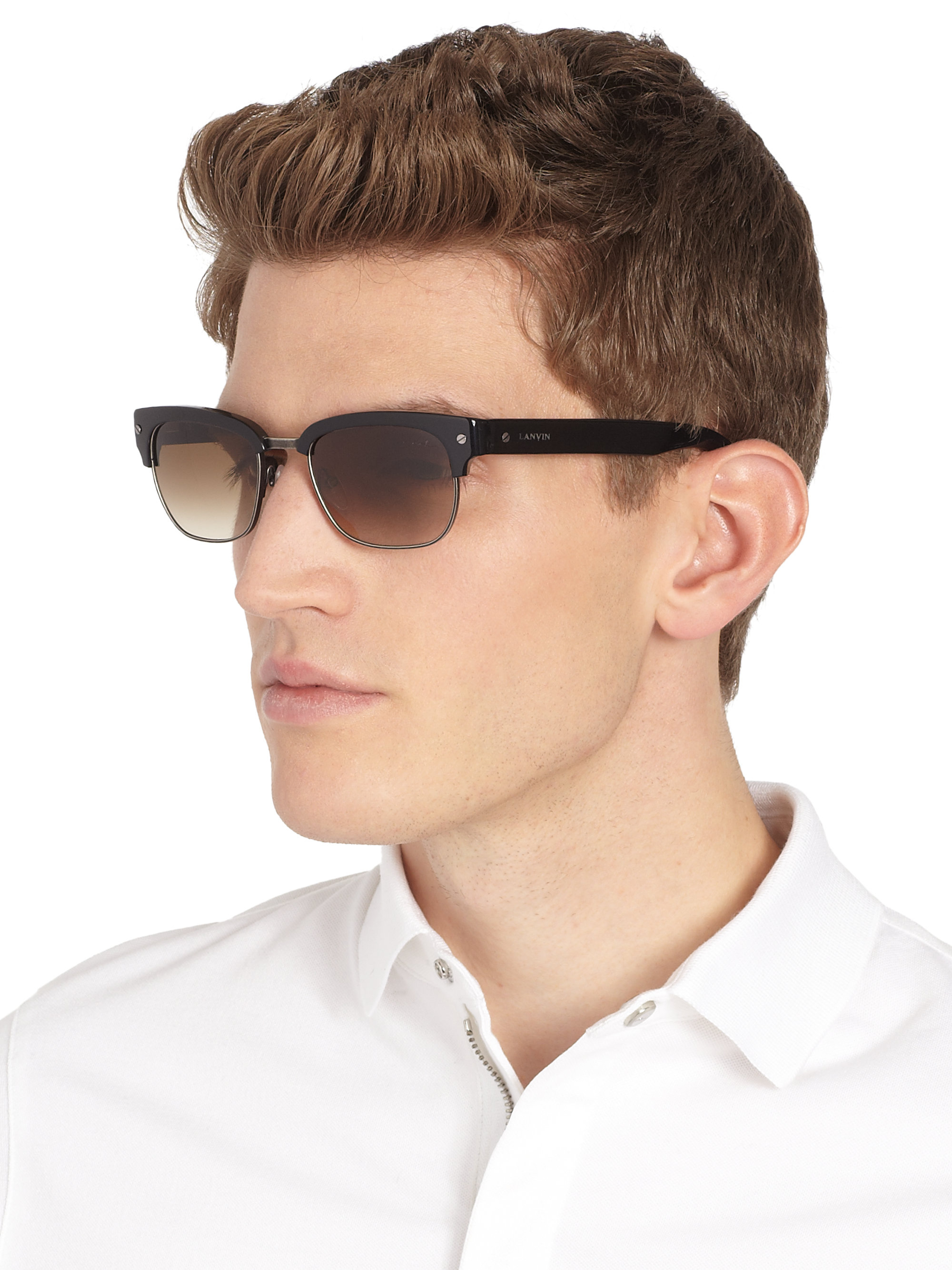 Black Clubmaster Sunglasses  lanvin square shaped clubmaster sunglasses in black for men lyst