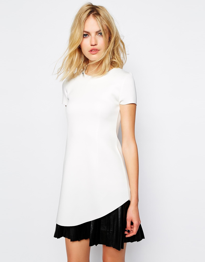 supertrash structured dress with leather look pleat skirt