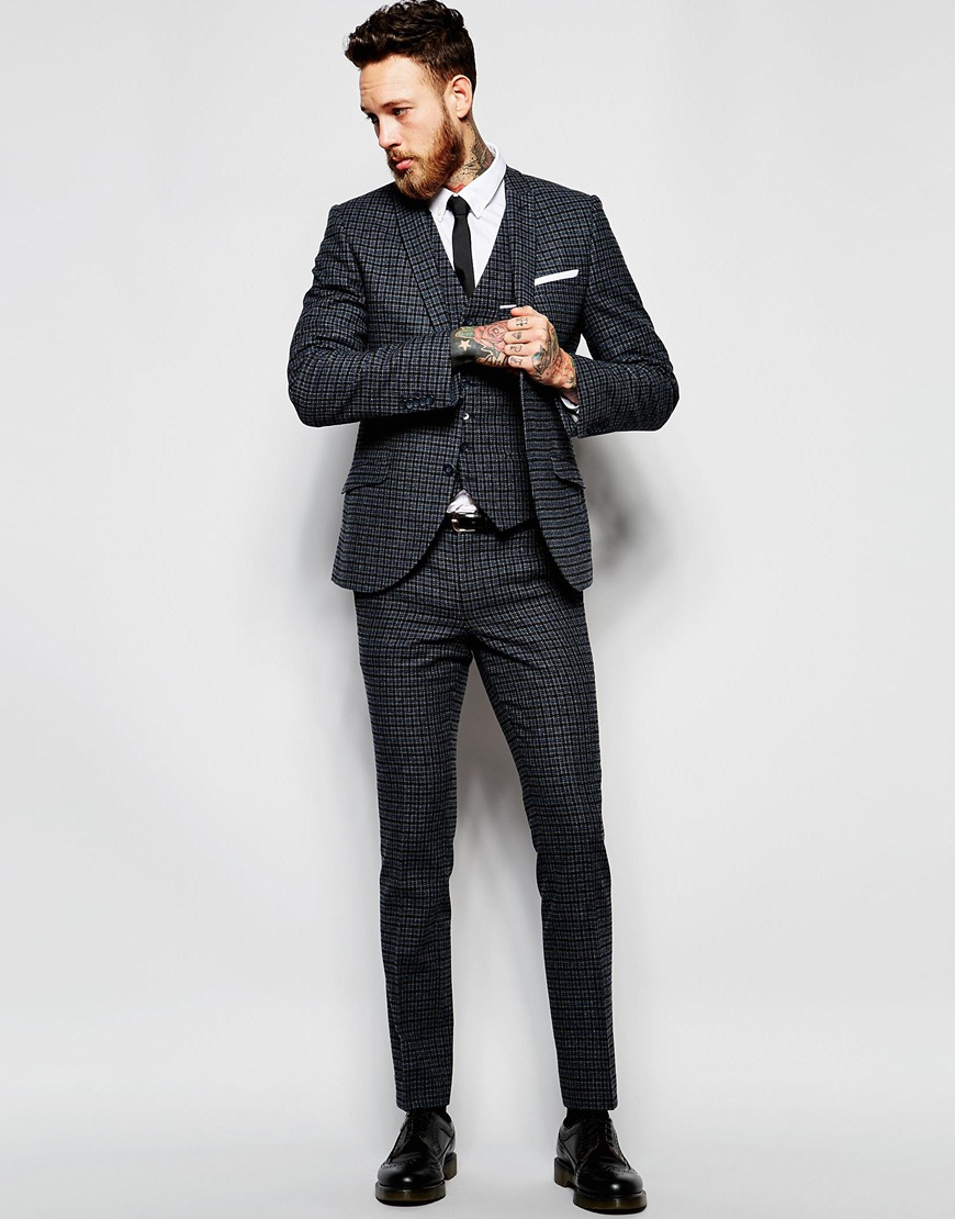 Heart & dagger Check Suit Trousers In Super Skinny Fit in Black ...