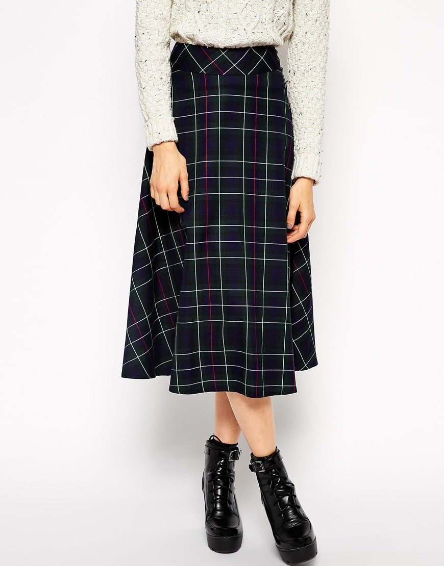 asos midi skirt in tartan print in green lyst