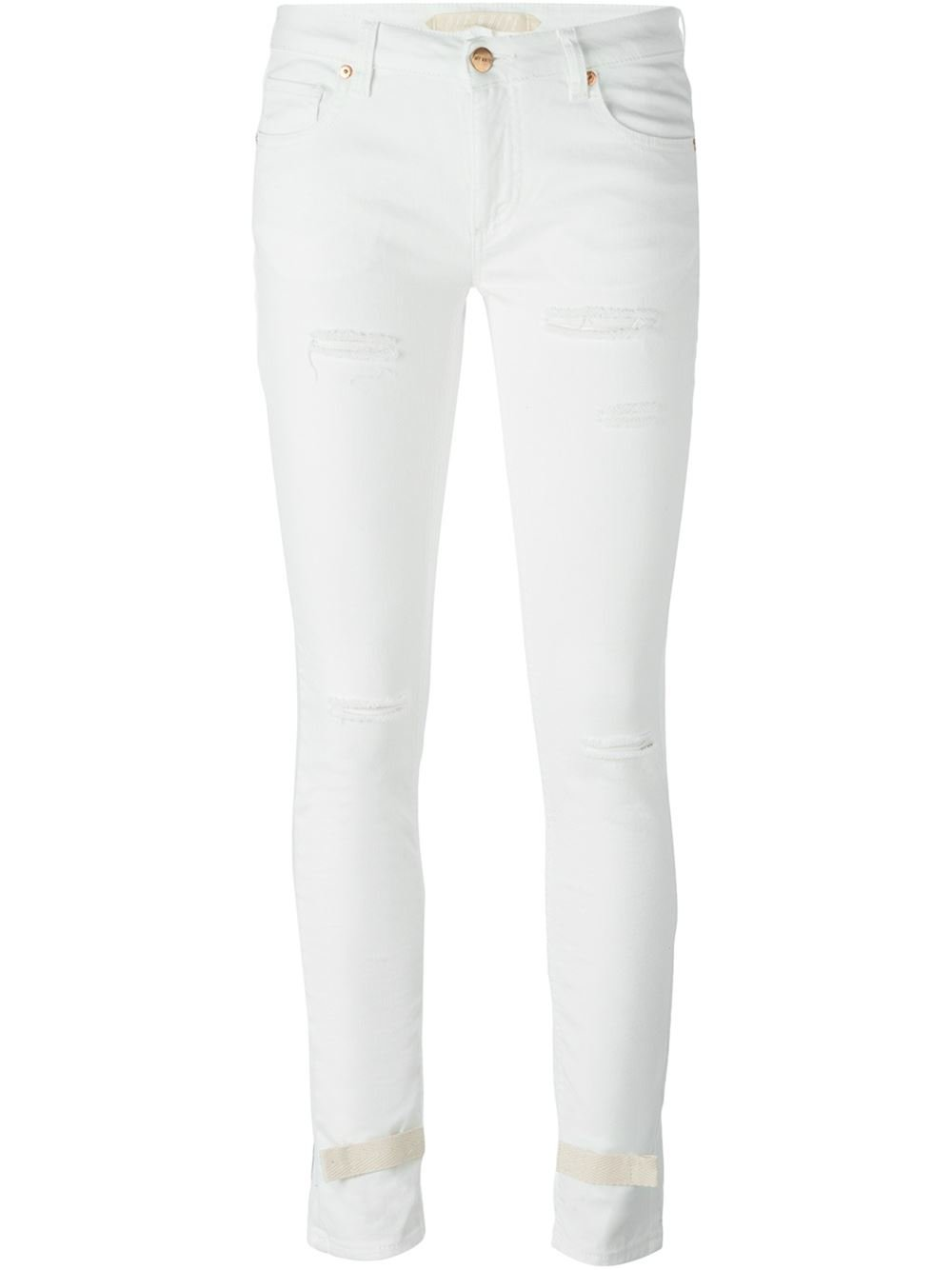 Off-white c/o virgil abloh Striped Detail Skinny Jeans in White | Lyst
