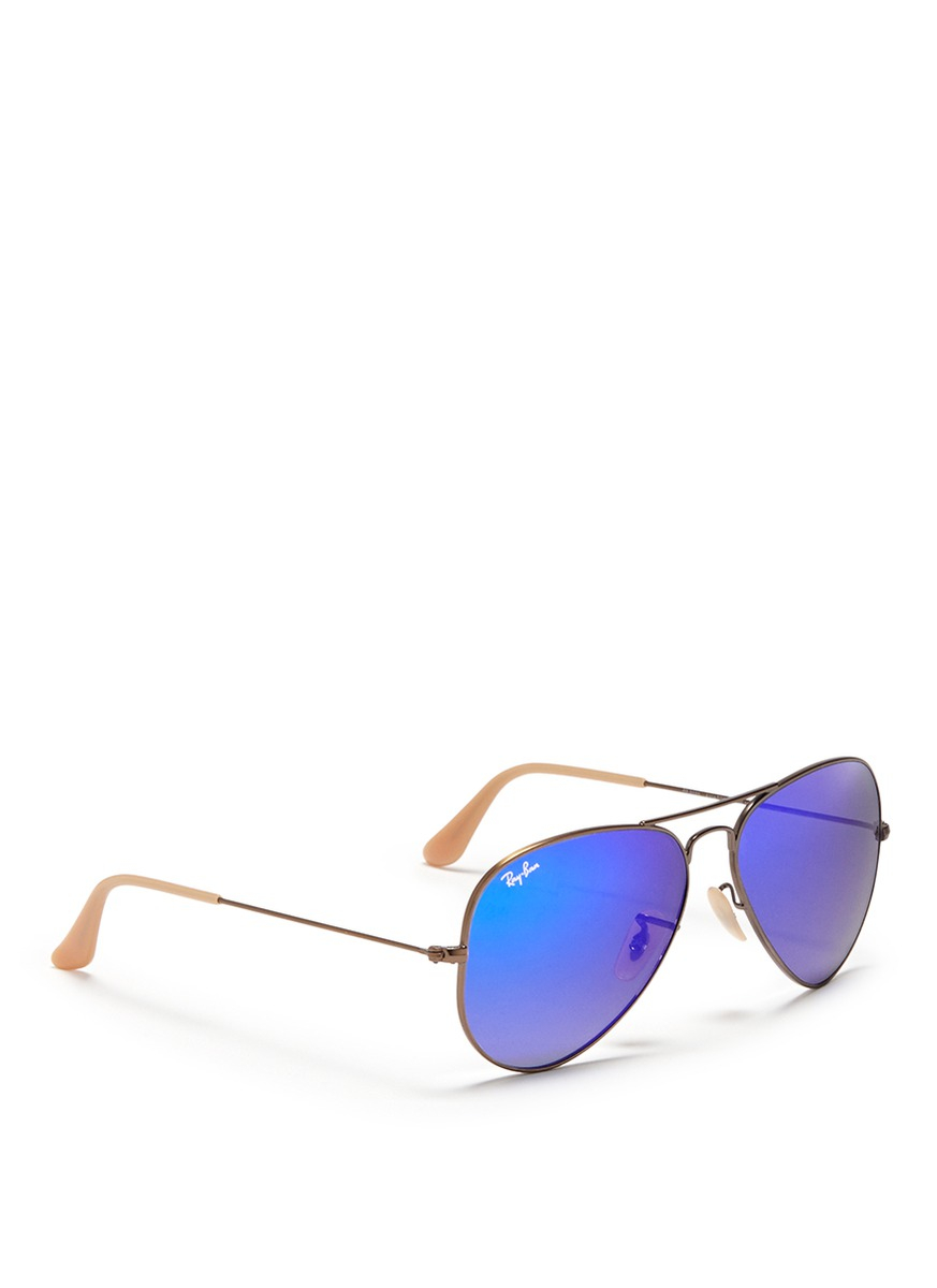 Ray Ban Aviator Large Metal Mirror Sunglasses In Blue Lyst