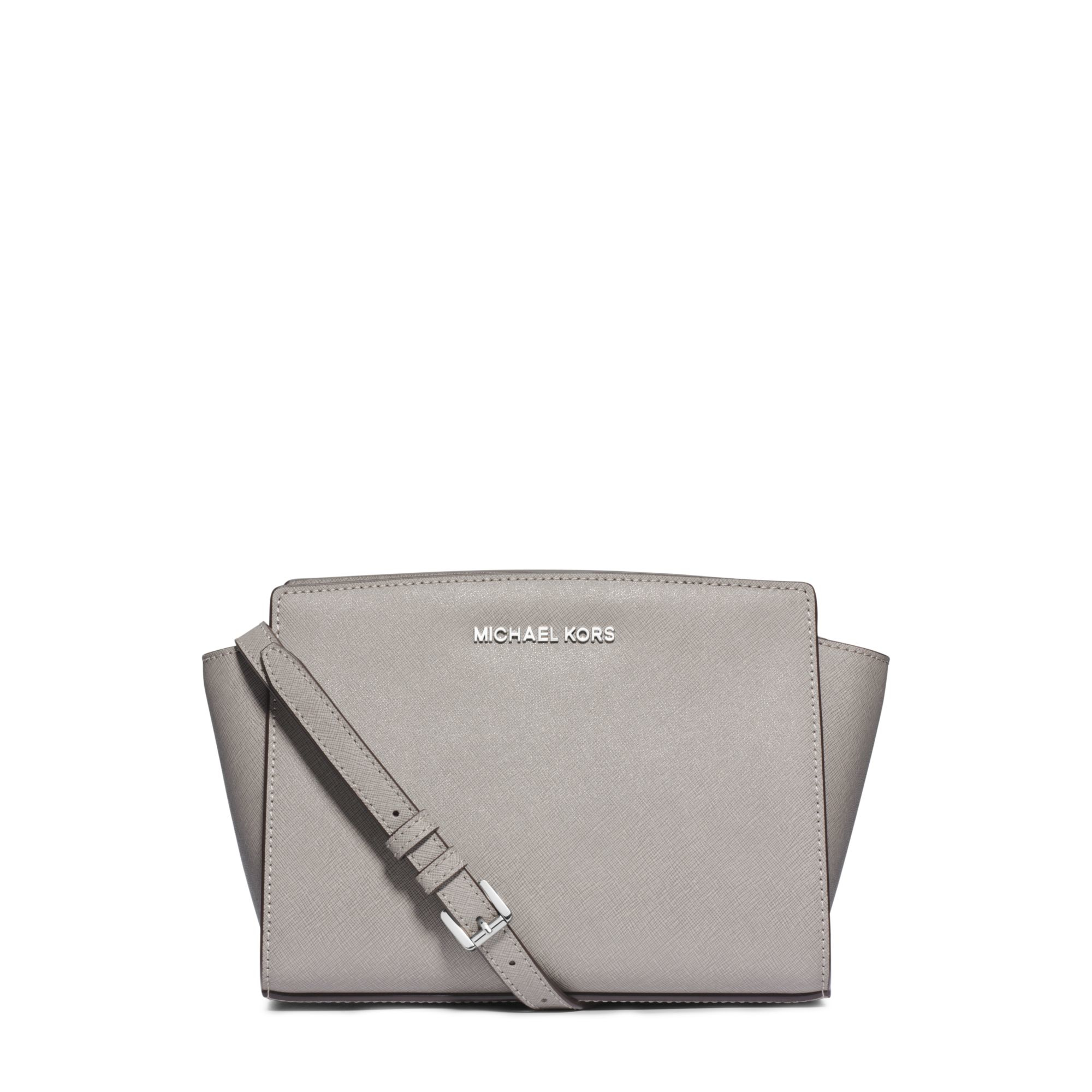 michael kors selma medium saffiano leather messenger in gray pearl grey lyst. Black Bedroom Furniture Sets. Home Design Ideas