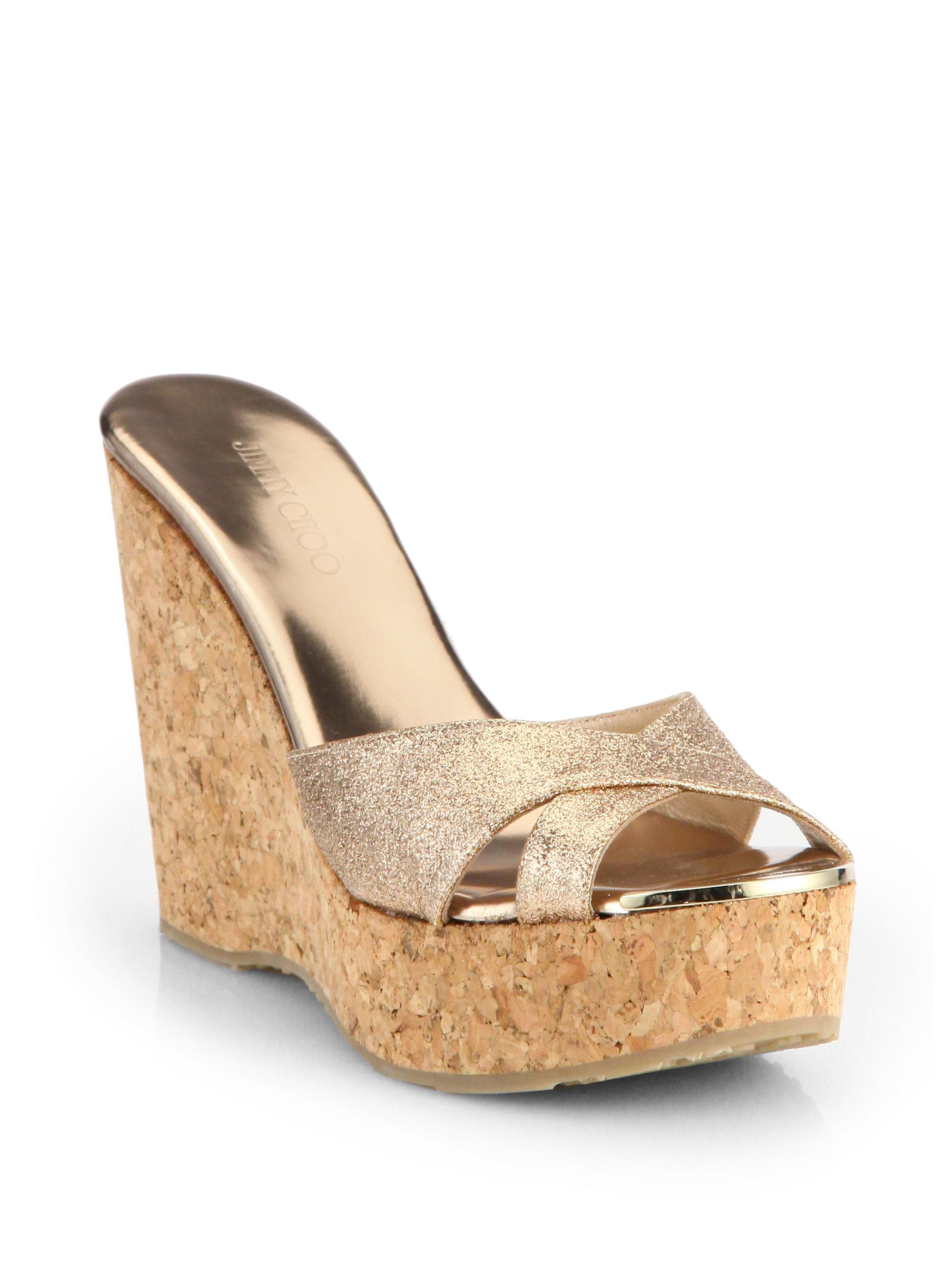 a53b31653d3 ... czech jimmy choo perfume glitter cork wedge sandals in pink lyst 1ec0f  7a9a1