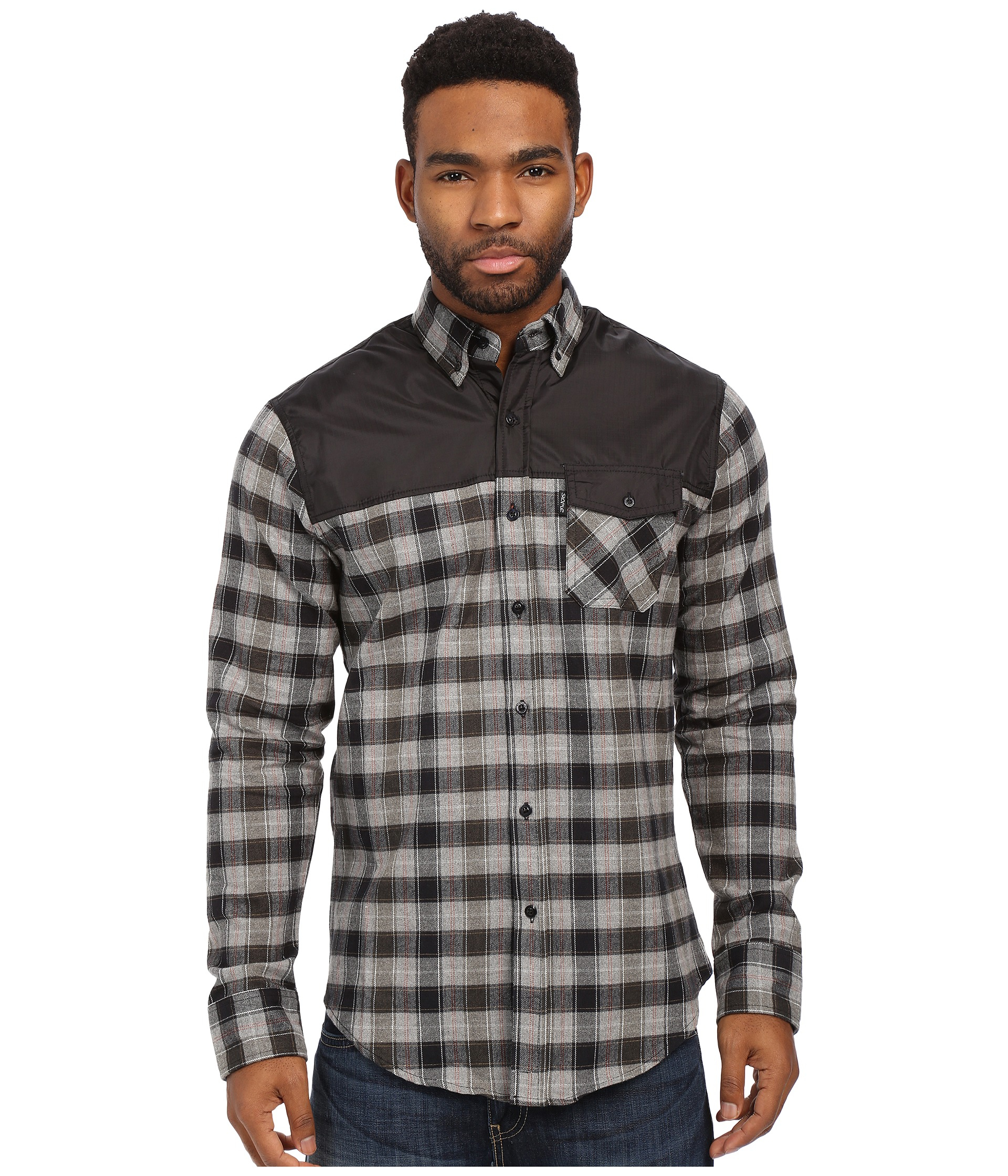 staple complex flannel button in black for lyst