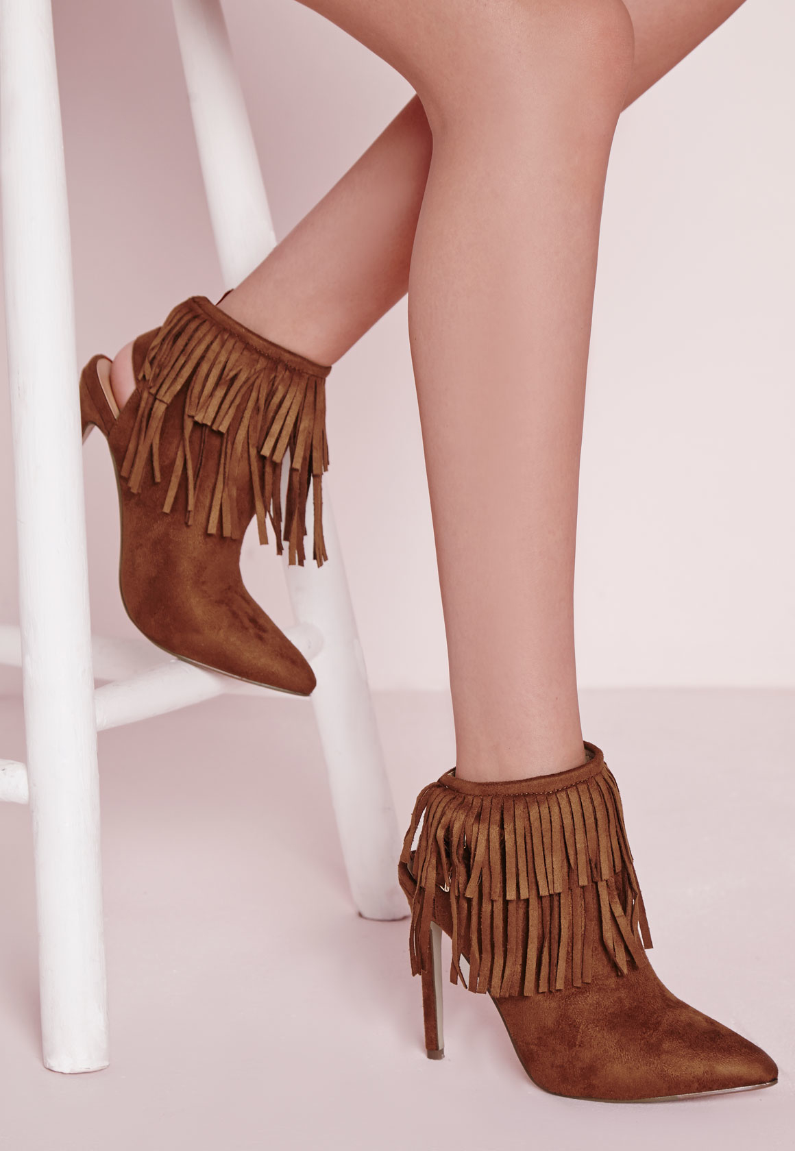 Missguided Fringe Detail Heeled Ankle Boots Tan in Brown ...