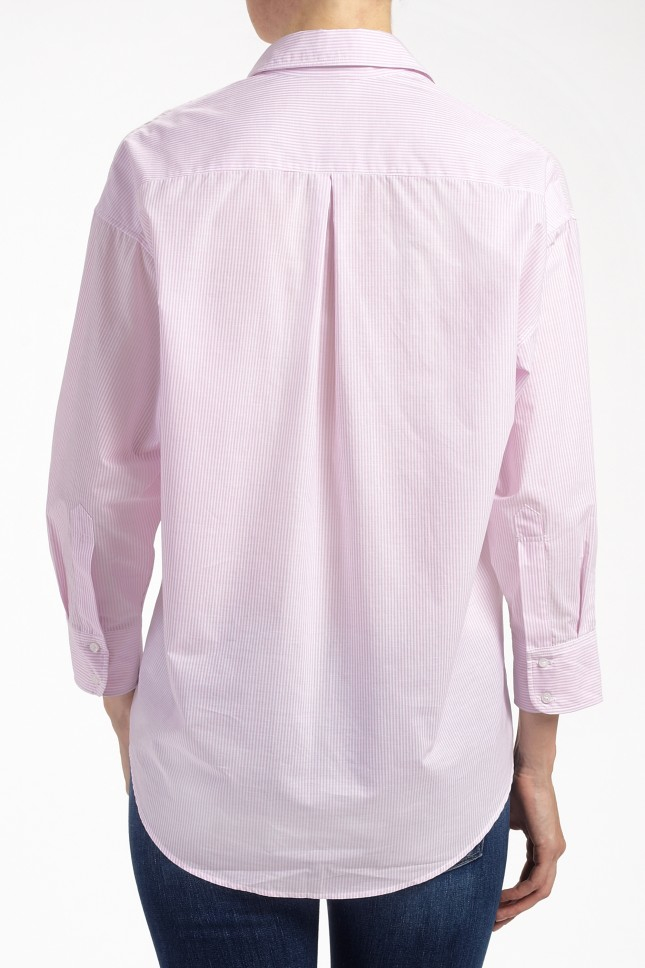 Maje Striped Button Down Shirt In Pink Lyst