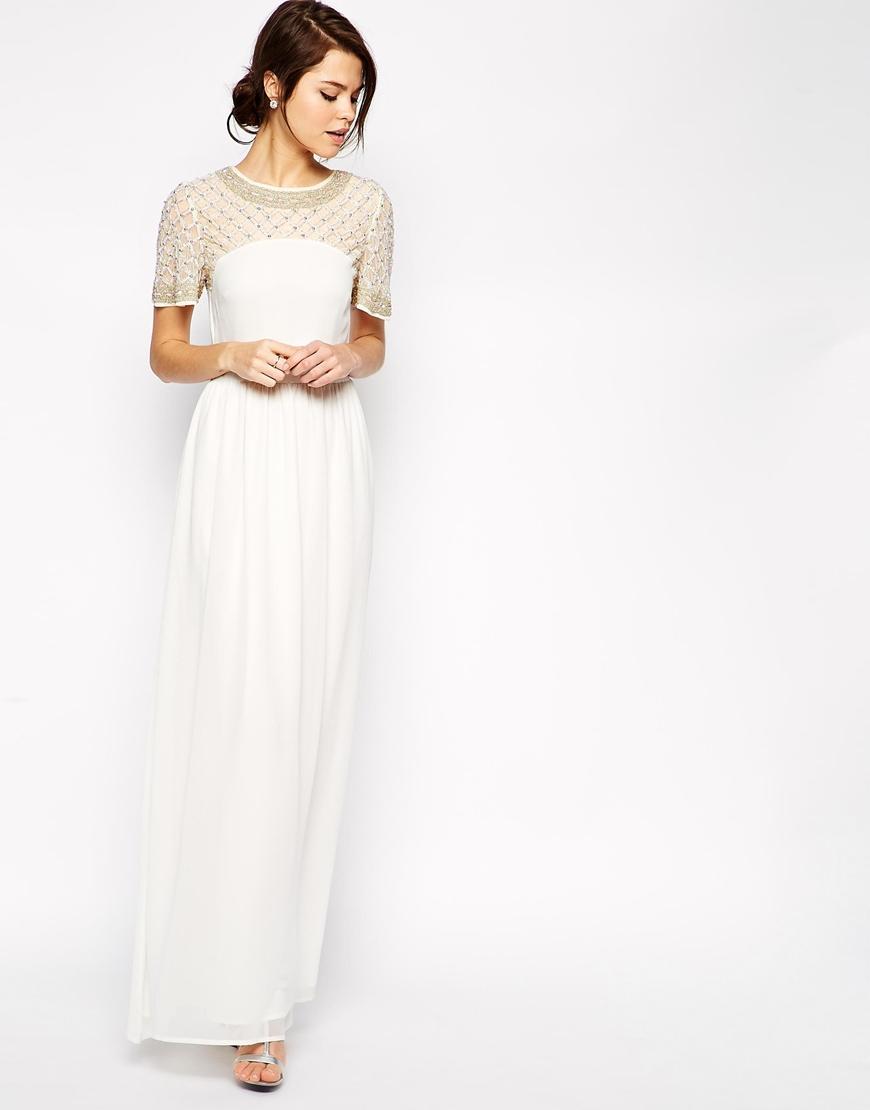 Asos Lattice Embellished Flutter Sleeve Maxi Dress in Natural | Lyst