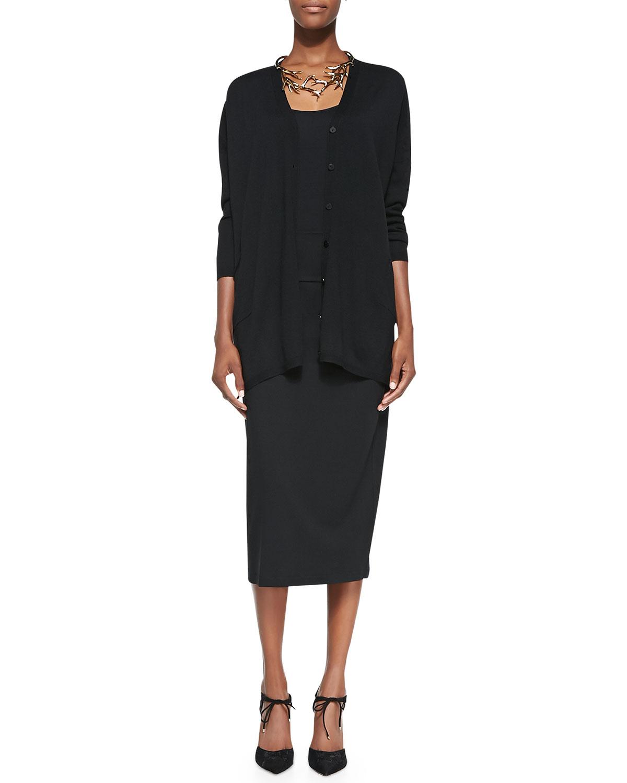 eileen fisher kneelength jersey skirt in black lyst