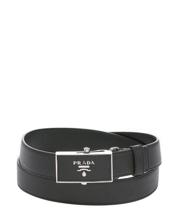 Prada Black Saffiano Leather Slide Adjustable Belt in Silver for ...