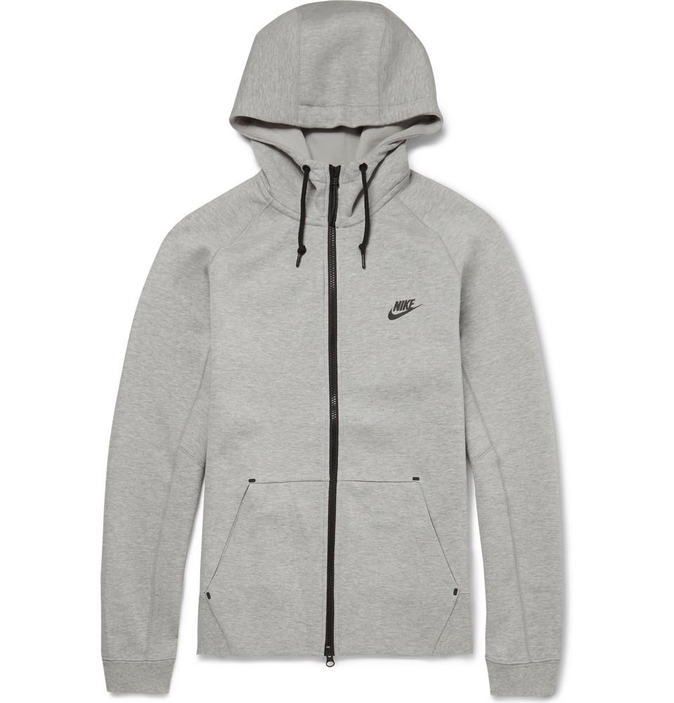 Nike Tech Fleeceback Cotton-Blend Hoodie in Gray for Men - Lyst 10dfec6d7c6f