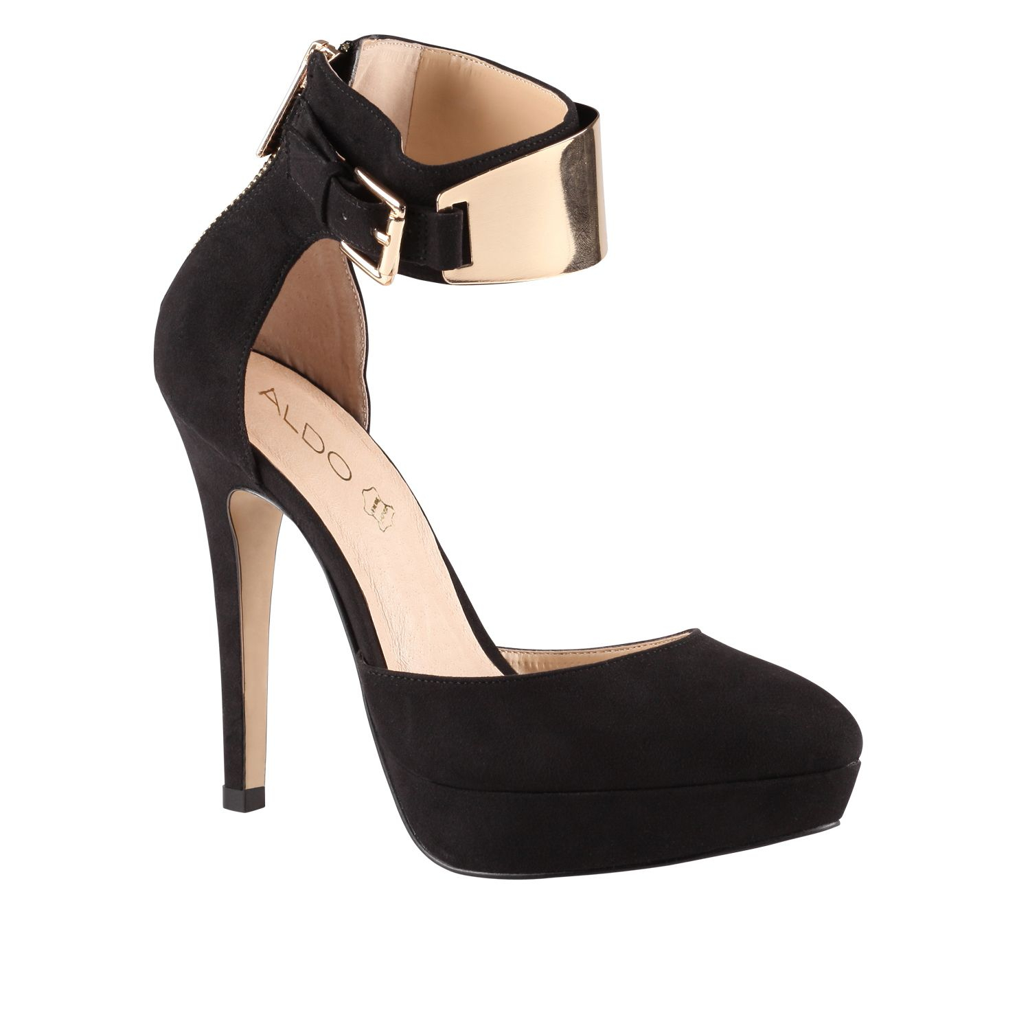 aldo dwaydien almond toe stilleto court shoes in metallic