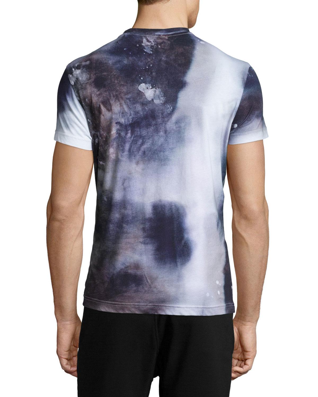 belstaff tollgate tie dye crewneck t shirt in blue for
