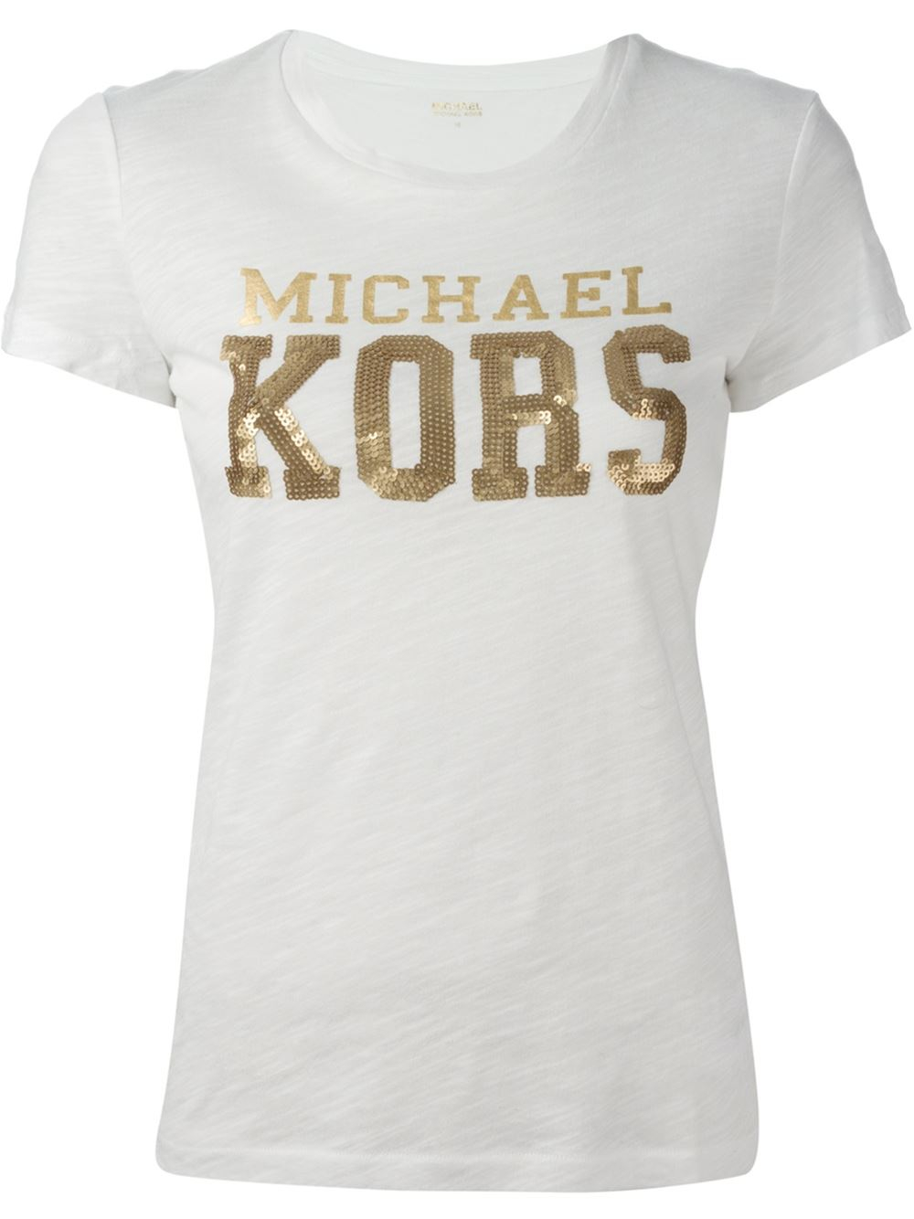 michael michael kors sequin embellished logo t shirt in white lyst. Black Bedroom Furniture Sets. Home Design Ideas