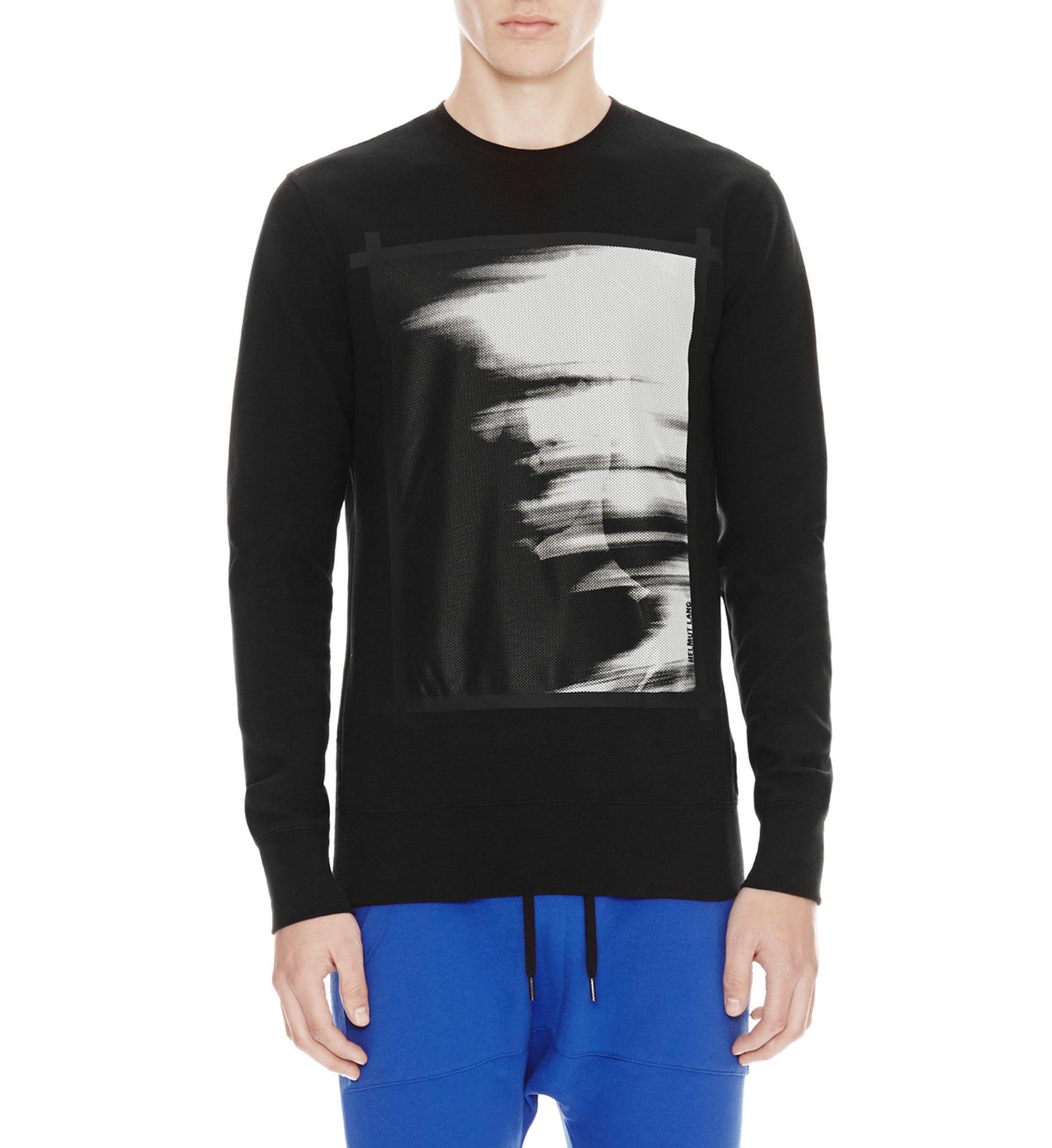 Helmut lang ghost print mesh sweatshirt in black for men for Sweatshirt kleid lang