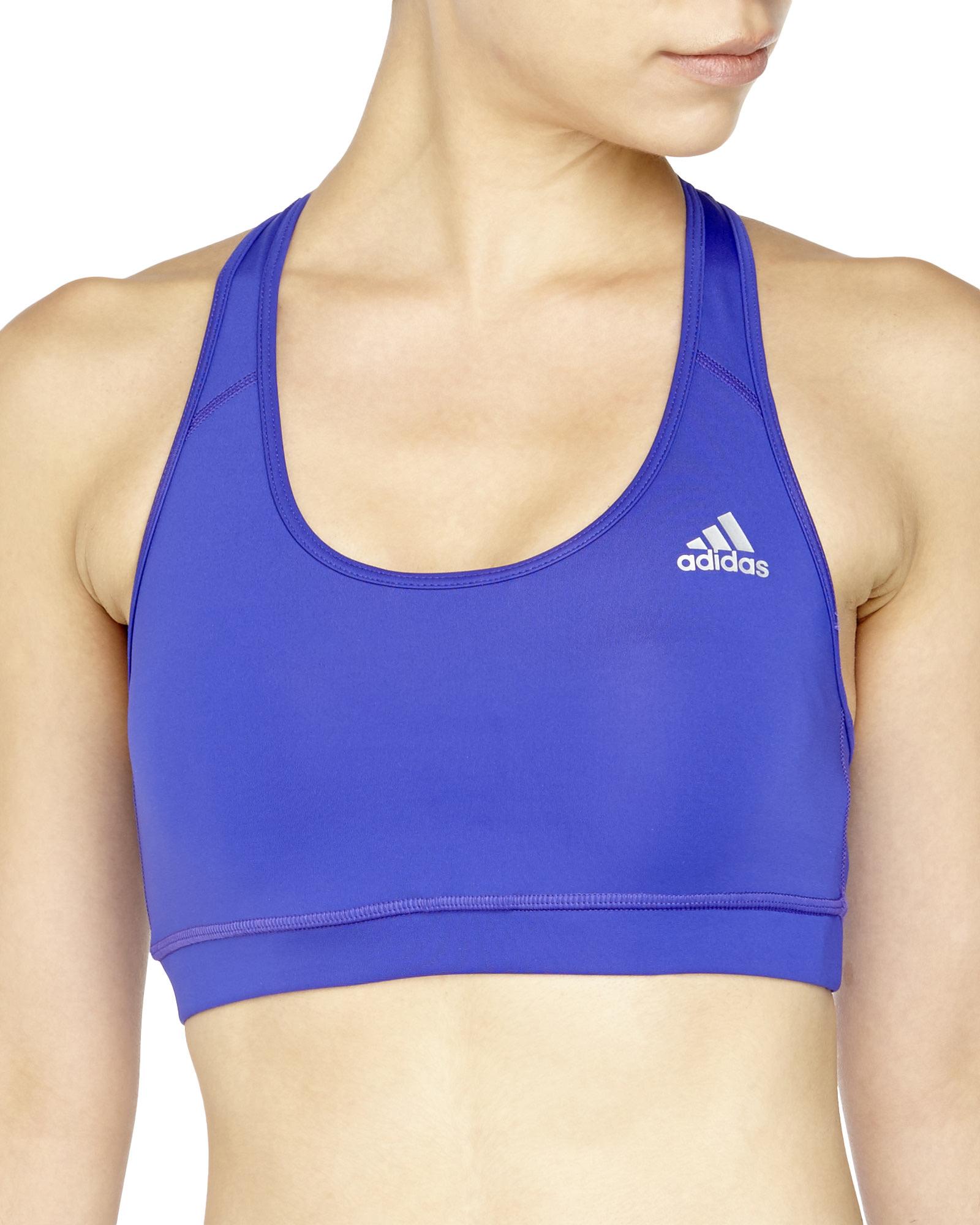 6729ef73f2eb6 Lyst - adidas Tech Fit Medium Compression Sports Bra in Blue