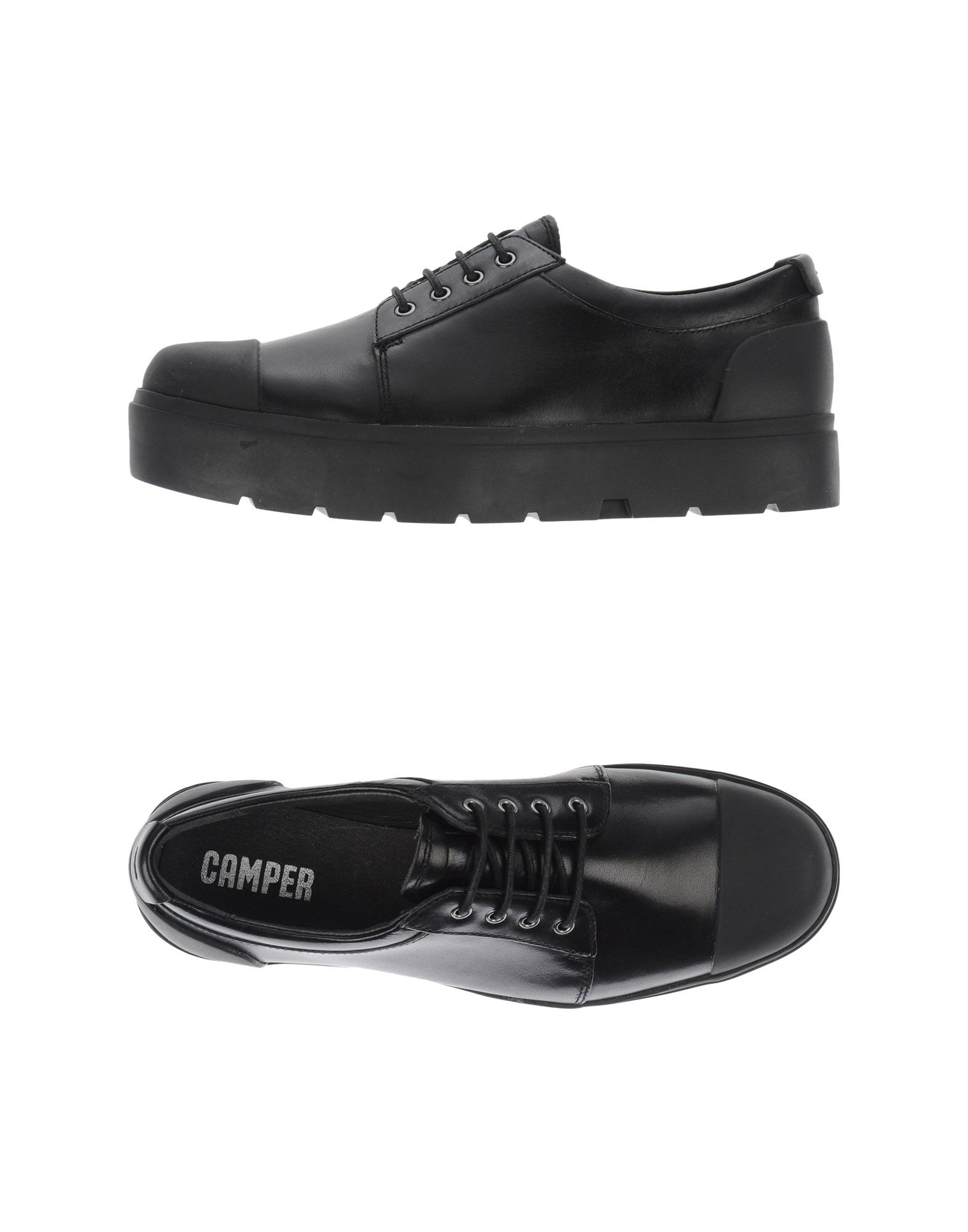 Lace Up Black Shoes Flat Camper