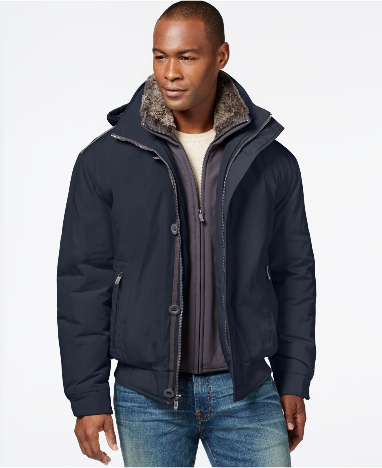 Weatherproof Bomber Jacket With Faux-fur Bib in Blue for Men | Lyst