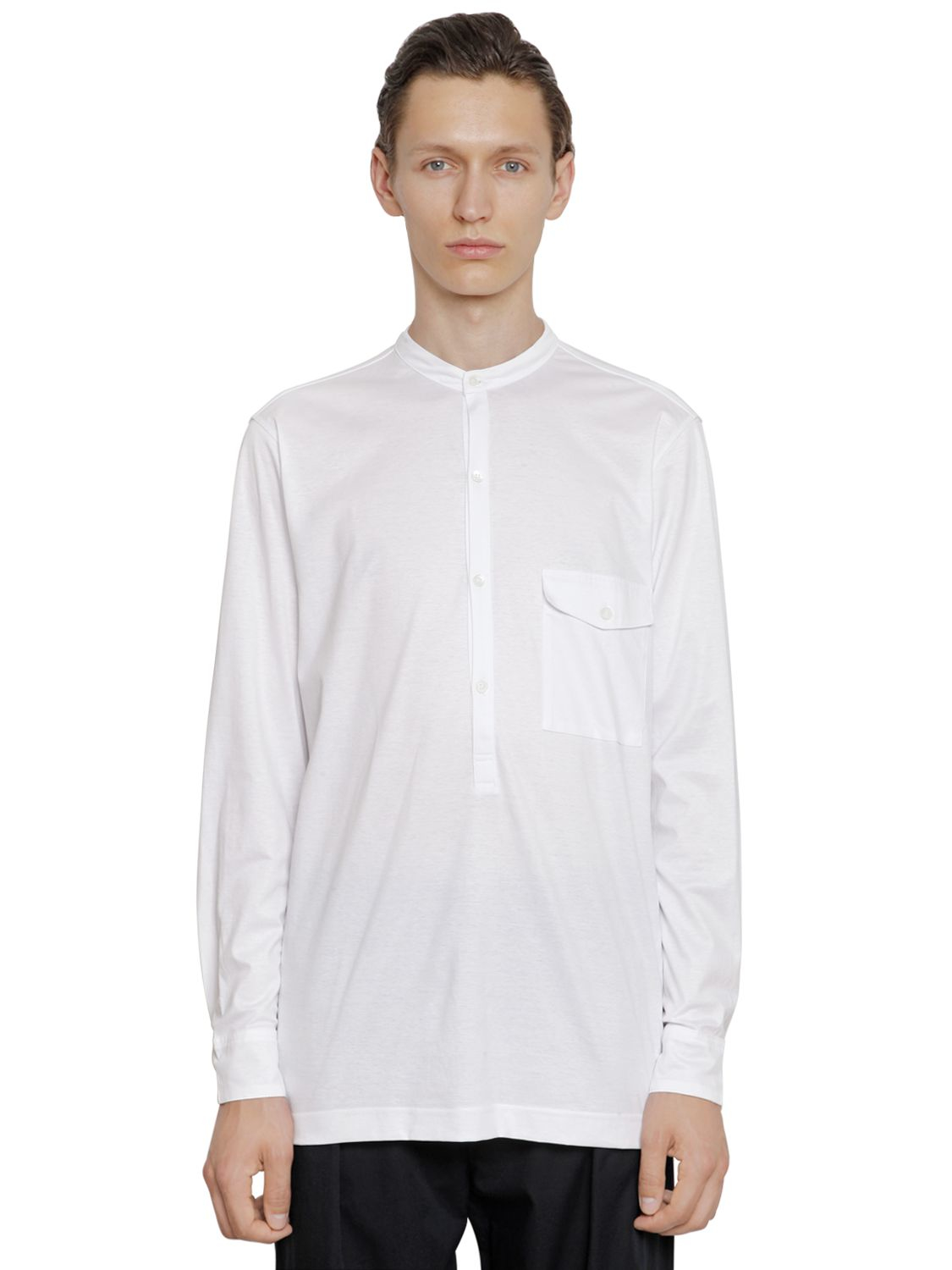 Christophe lemaire cotton jersey long sleeve henley t for Henley t shirt long sleeve