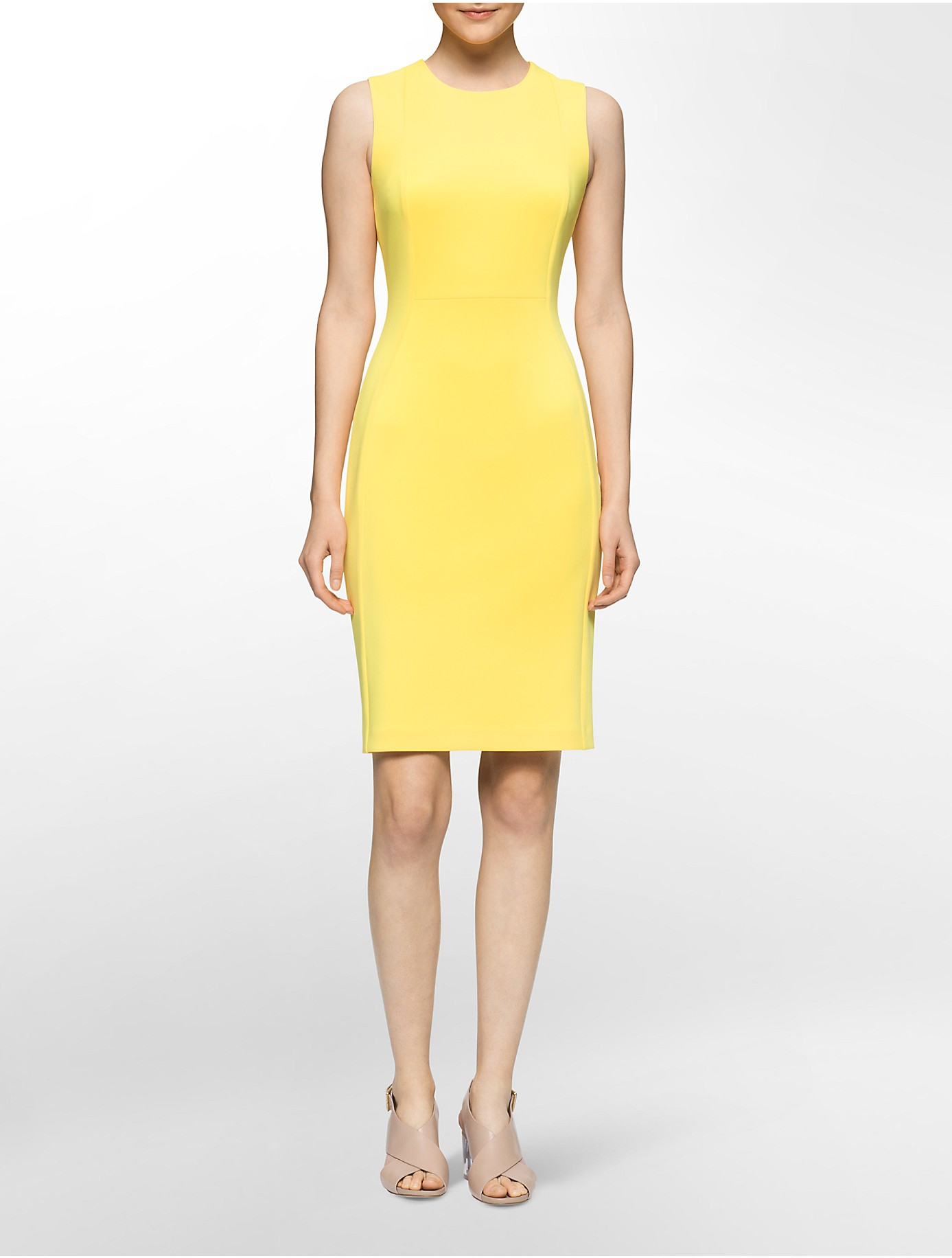 Lyst - Calvin Klein White Label Solid Scuba Sleeveless Sheath Dress ...