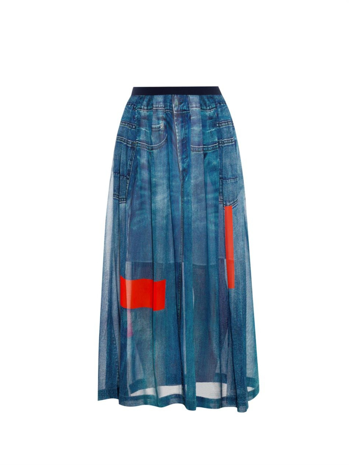 preen line celina denim print chiffon maxi skirt in blue