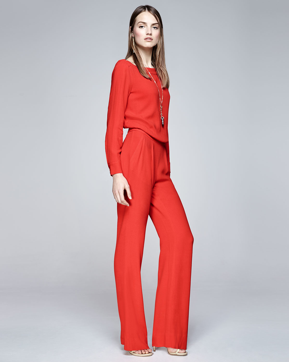 a0a4175a4fd6 Diane von Furstenberg Cynthia Long-Sleeve Jumpsuit in Red - Lyst