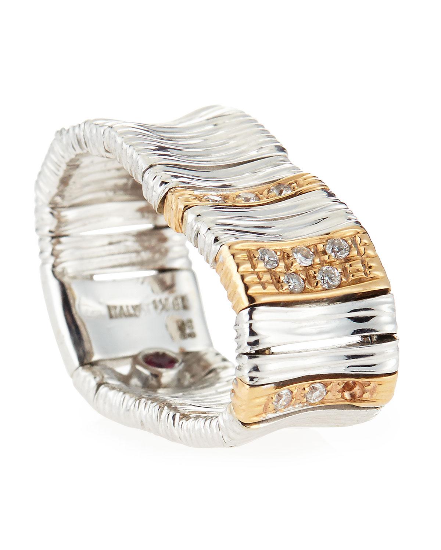 Roberto Coin Martellato Diamond Ring in 18k Rose/White Gold, Size 6.5