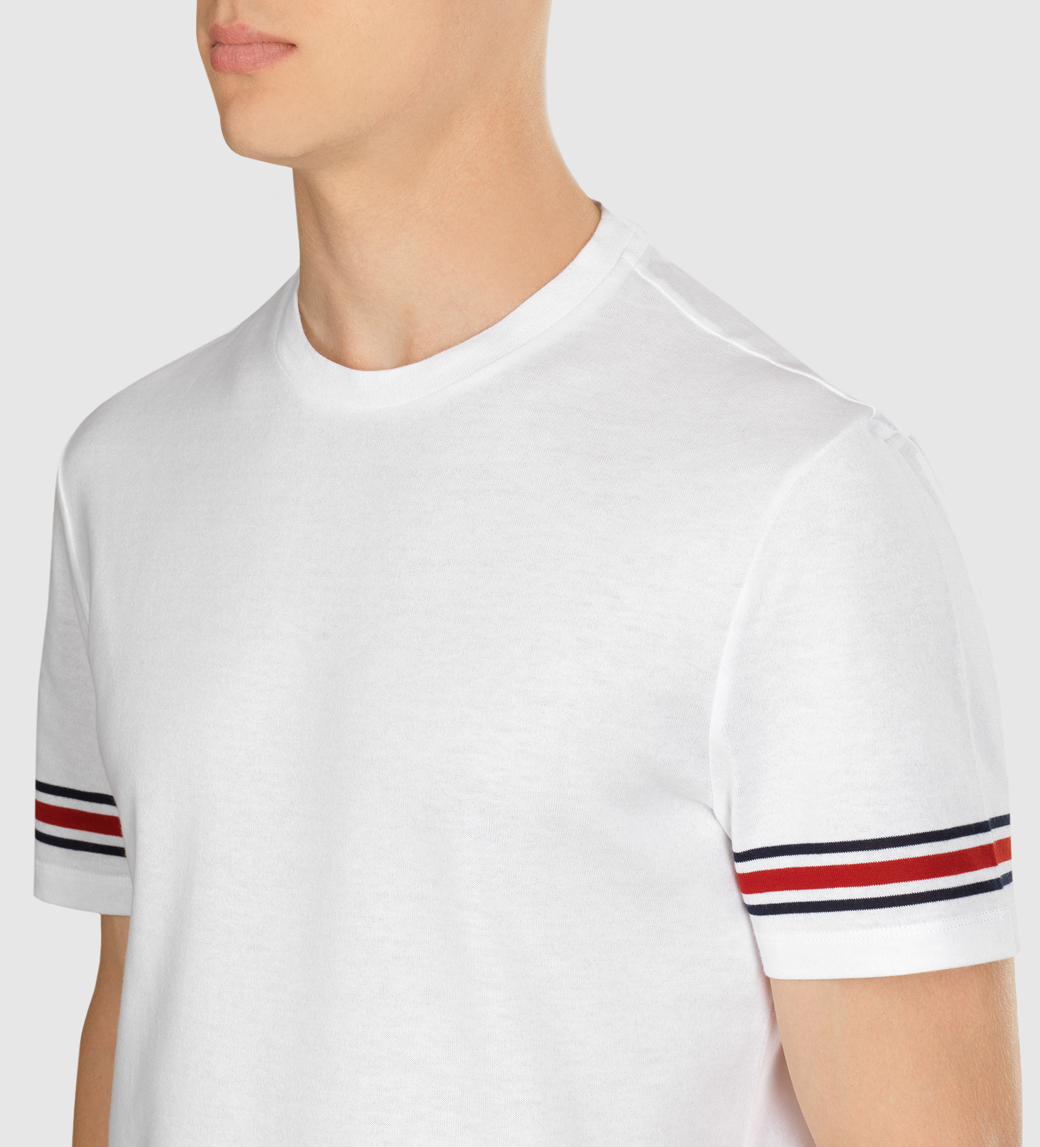 7ce752df7 Gucci Cotton Jersey T-shirt With Signature Web Stripe in White for ...