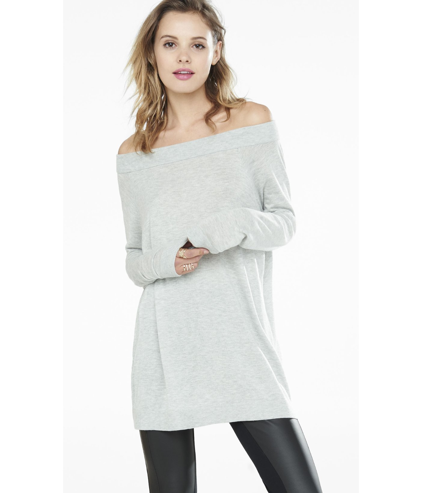 Express Hint Of Cashmere Off The Shoulder Tunic Sweater in ...