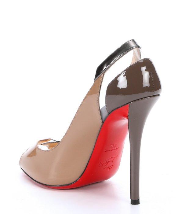christian louboutin peep-toe slingback pumps Brown patent leather ...