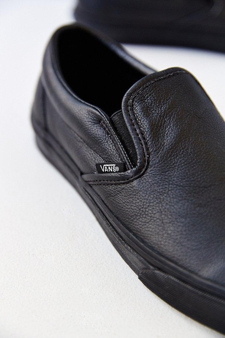 vans classic leather slip-on mens sneaker