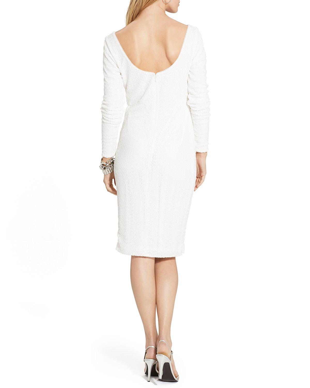 Lyst - Ralph Lauren Lauren Dress - Sequin in White