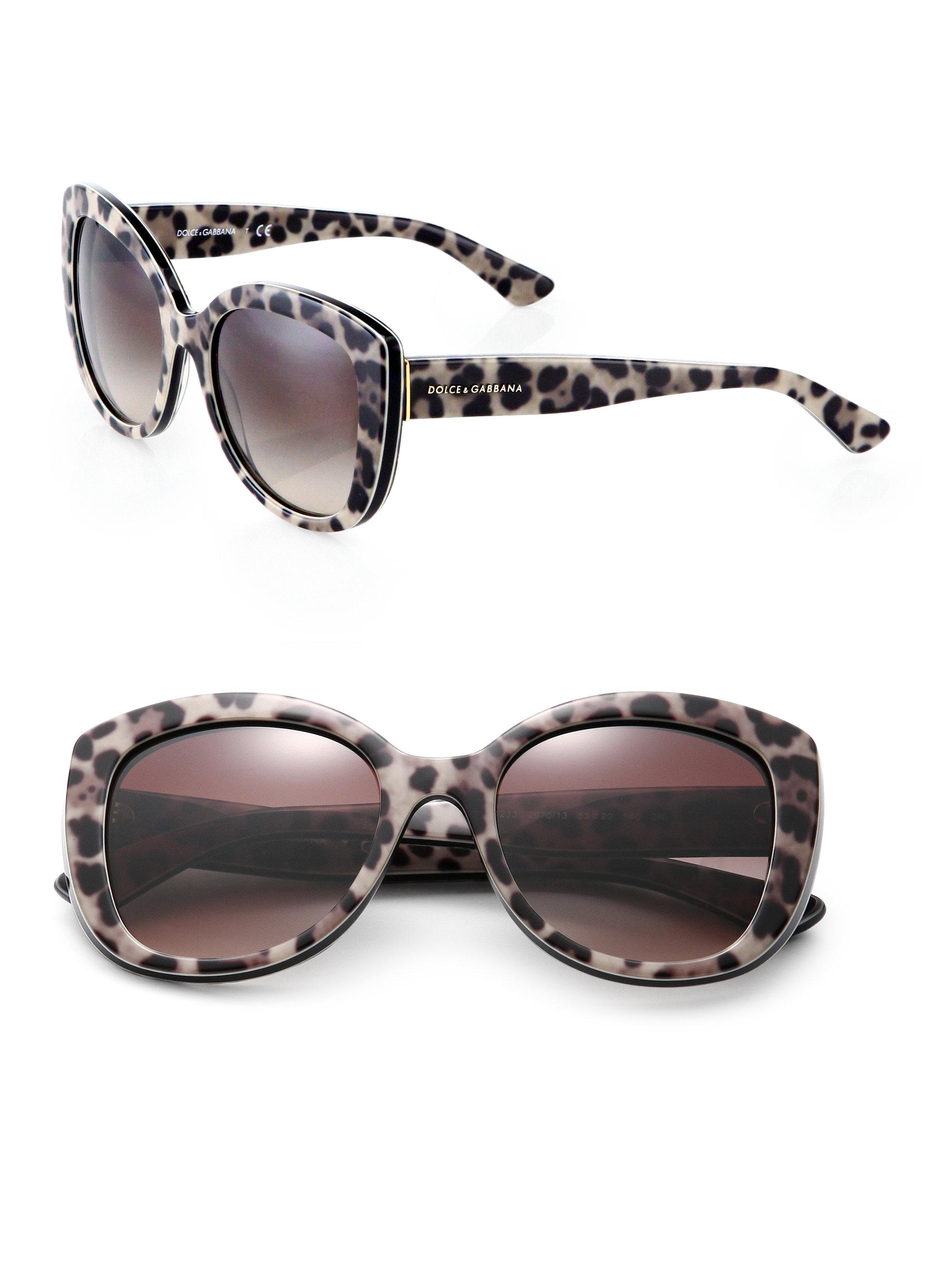 1e346738350c Lyst - Dolce   Gabbana Leopard-print 53mm Cat s-eye Sunglasses