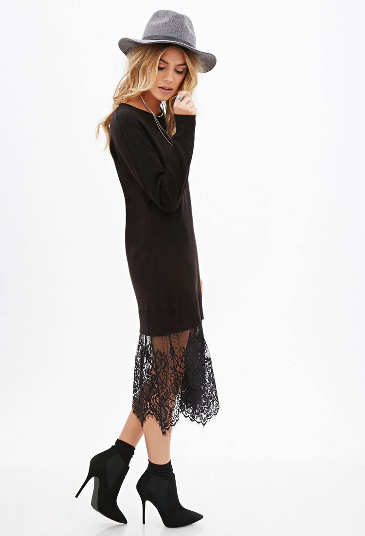 Forever 21 Eyelash Lace Sweater Dress in Black | Lyst