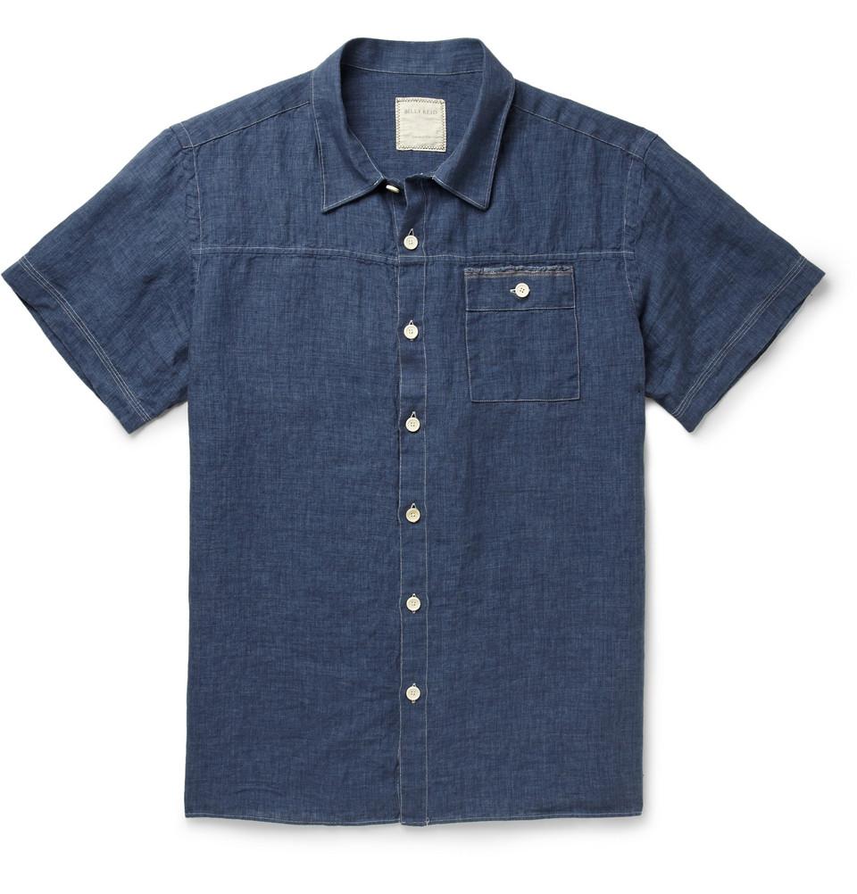 Billy Reid Linen Chambray Short Sleeve Shirt In Blue For