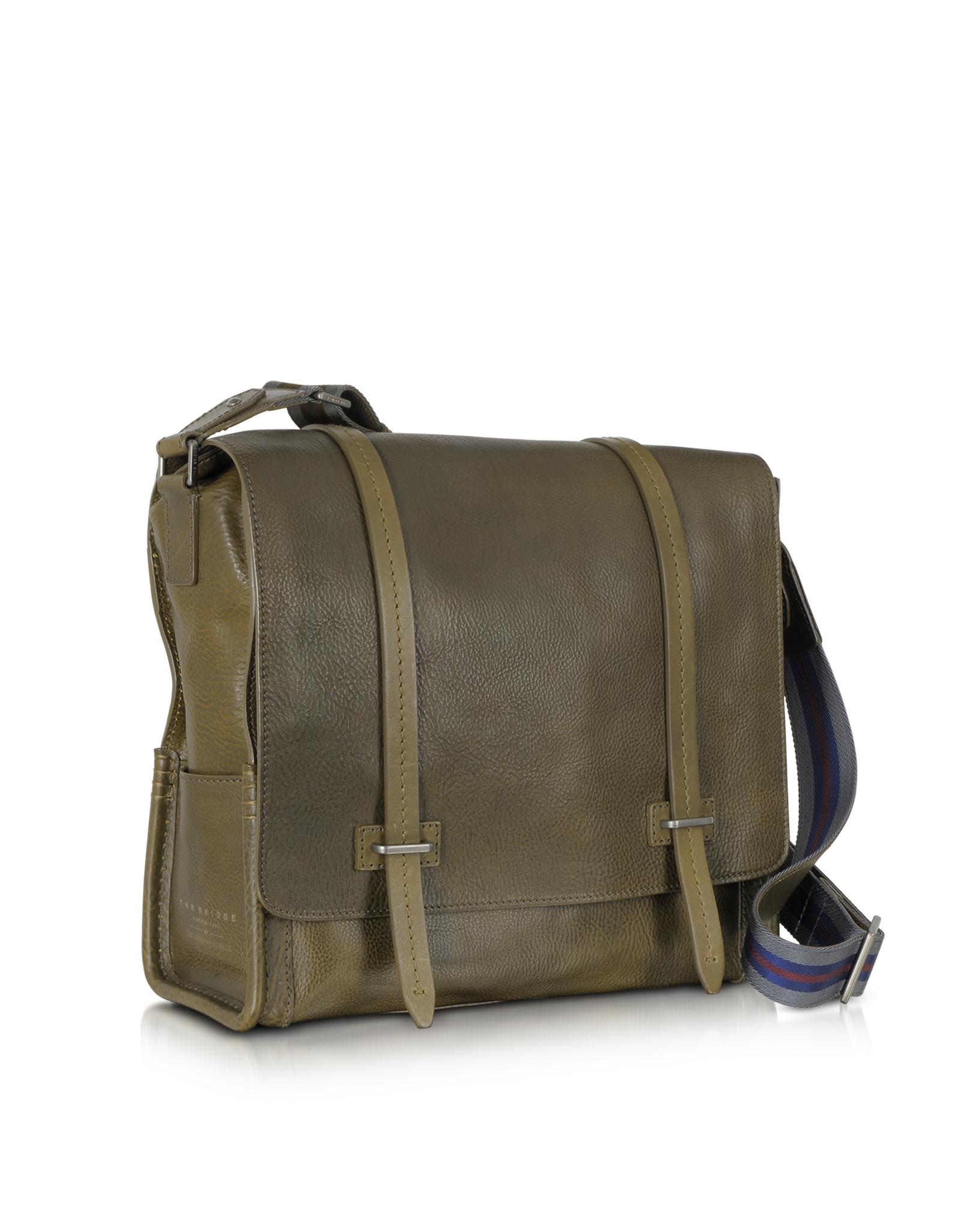 e49553251316 Lyst - The Bridge Ascott Large Olive Green Leather Messenger Bag in ...