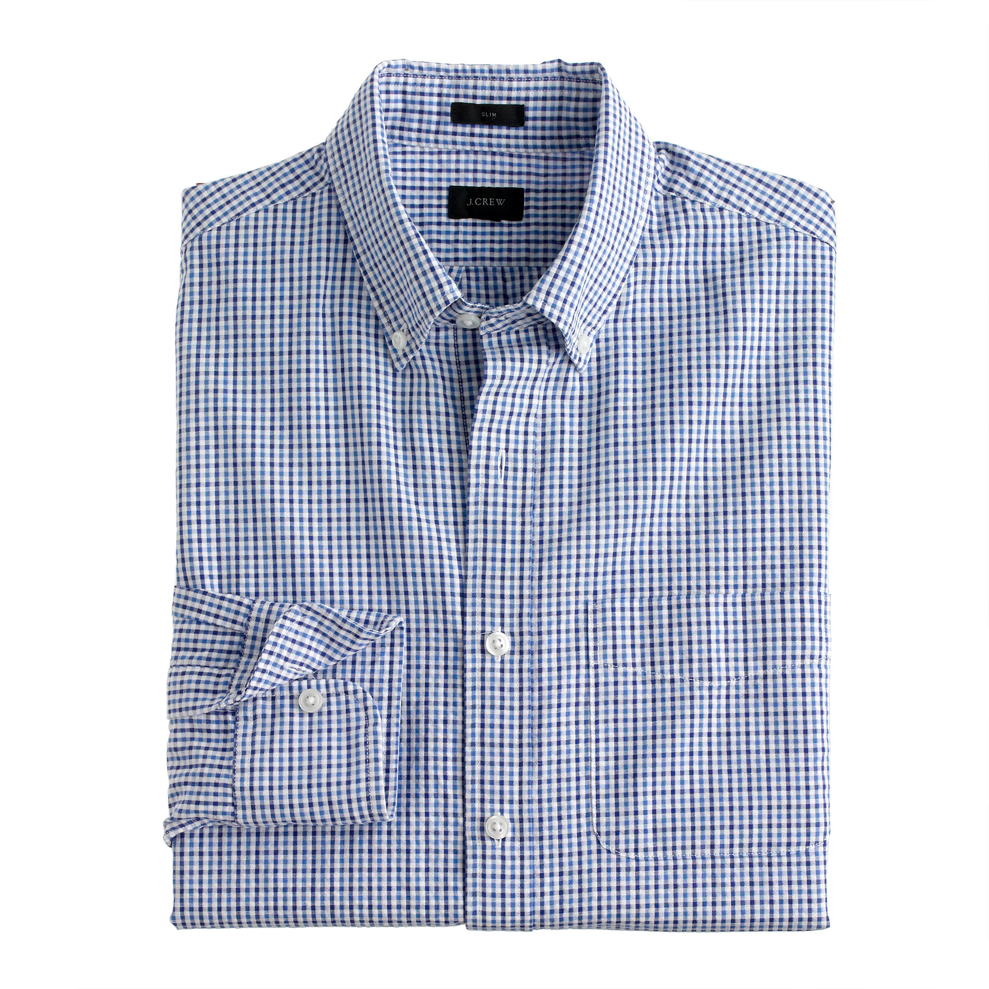 Seersucker shirt in tattersall in blue for men for Mens seersucker shirts on sale