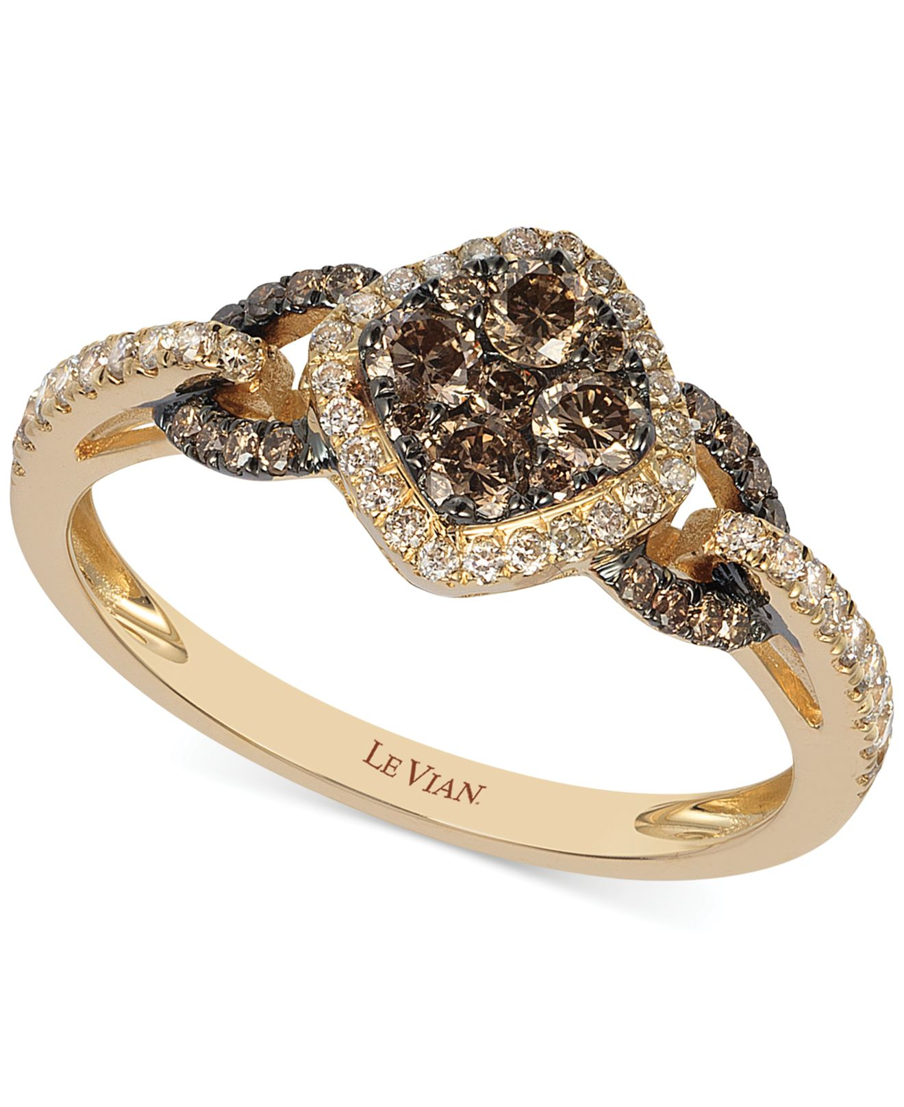 le vian chocolate and white diamond ring in 14k rose gold