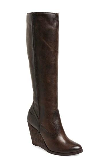 frye cece wedge boot in gray lyst