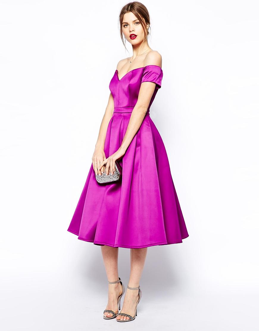 Lyst - Asos Satin Bardot Midi Prom in Pink