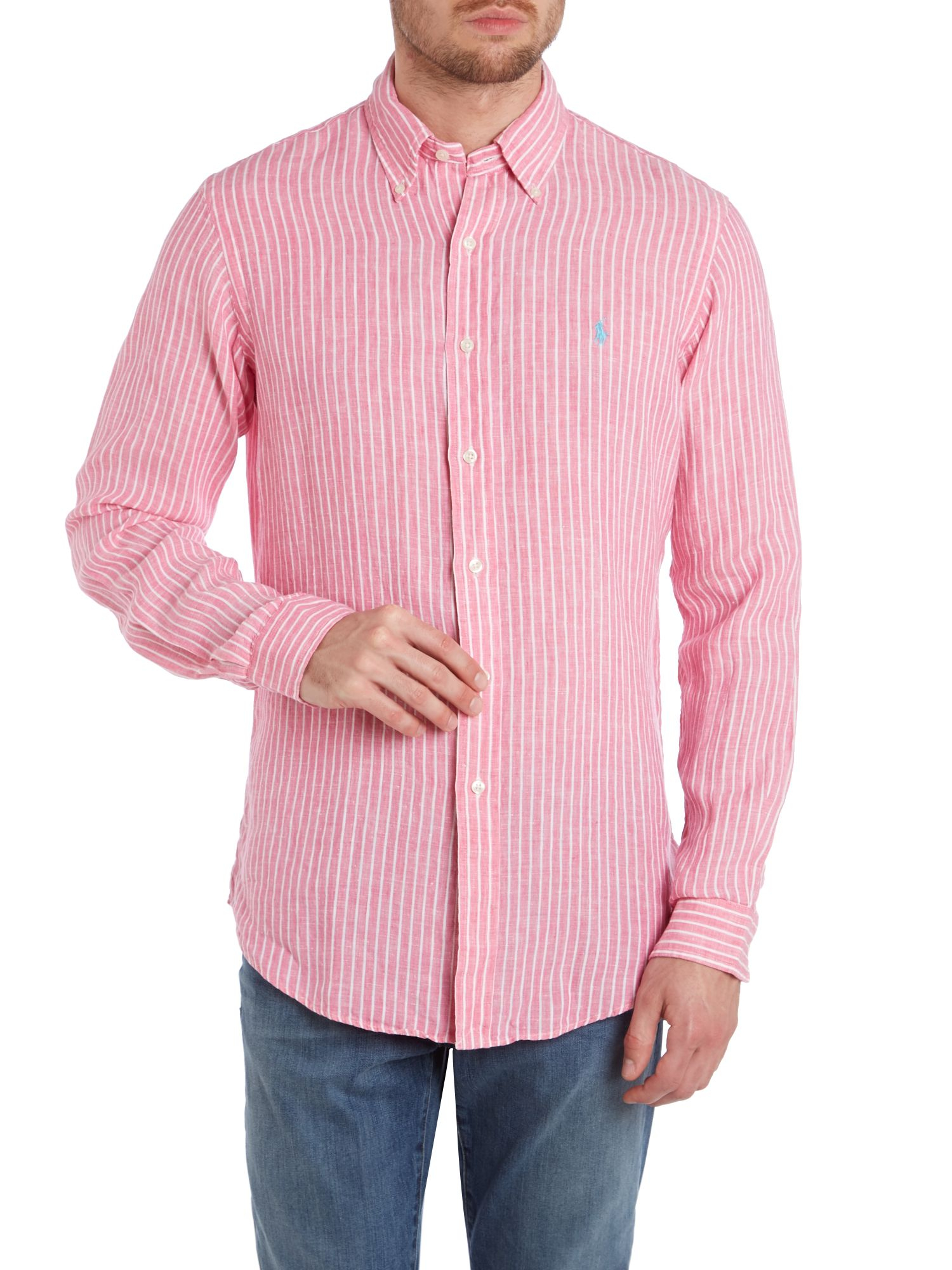 Polo ralph lauren Long Sleeve Striped Linen Shirt in Pink for Men ...