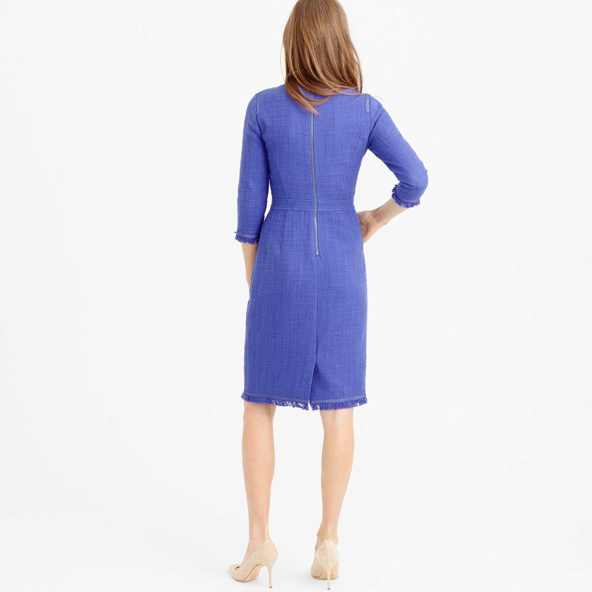 d3526df16b Lyst - J.Crew Petite Long-sleeve Tweed Dress With Fringe in Blue
