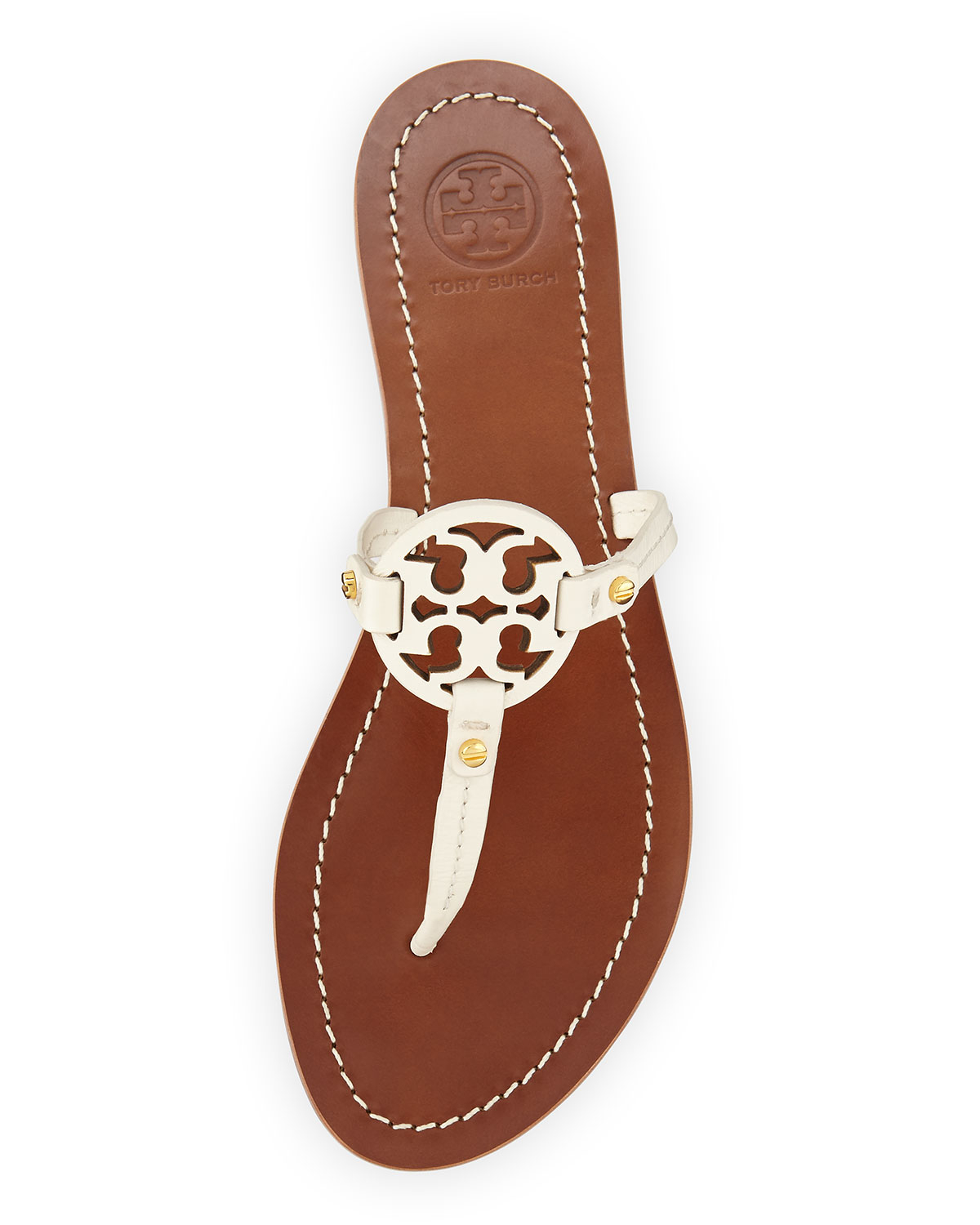 a173c8c35 ... netherlands tory burch mini miller leather flat thong sandal in brown  lyst 21ab1 b3578