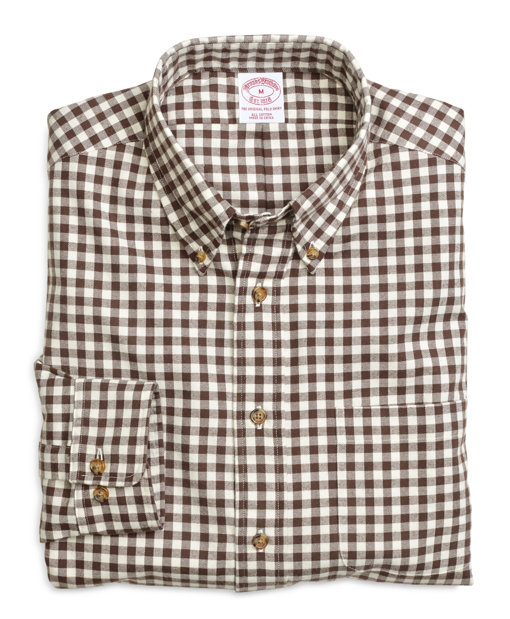 Brooks brothers regular fit flannel gingham sport shirt in for Brooks brothers sports shirts
