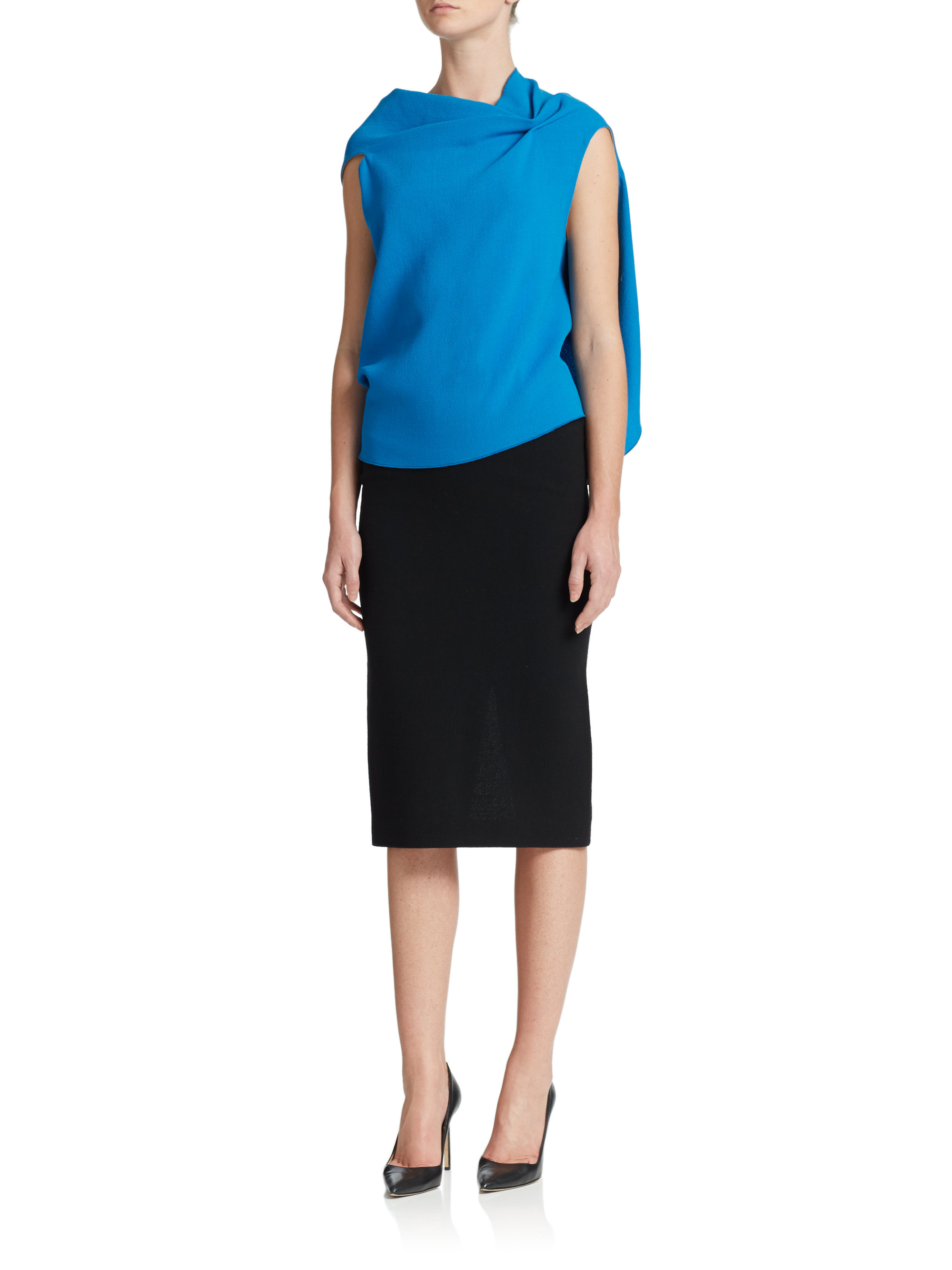 roland mouret arretan wool crepe pencil skirt in black lyst